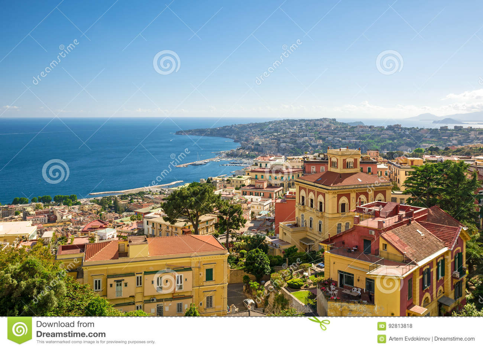 Mening van de kust van Napels, Italië