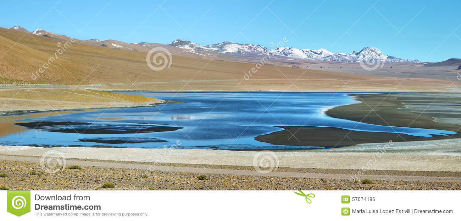 Mening van de lagune van Aguas calientes