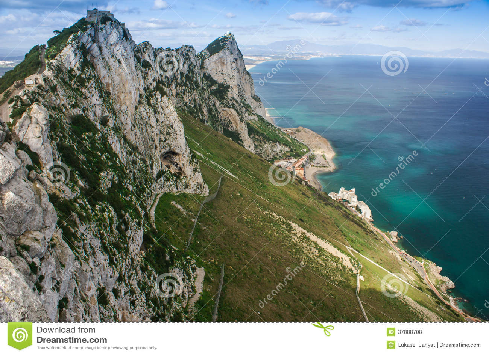 Mening van de rots van Gibraltar