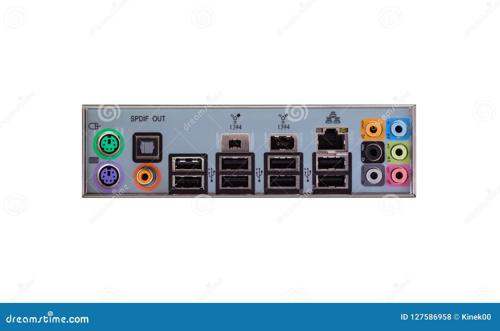 Mening van de rug van een bureaucomputer met een zichtbaar verbindingspaneel, audio, LAN, muis, toetsenbord, USB