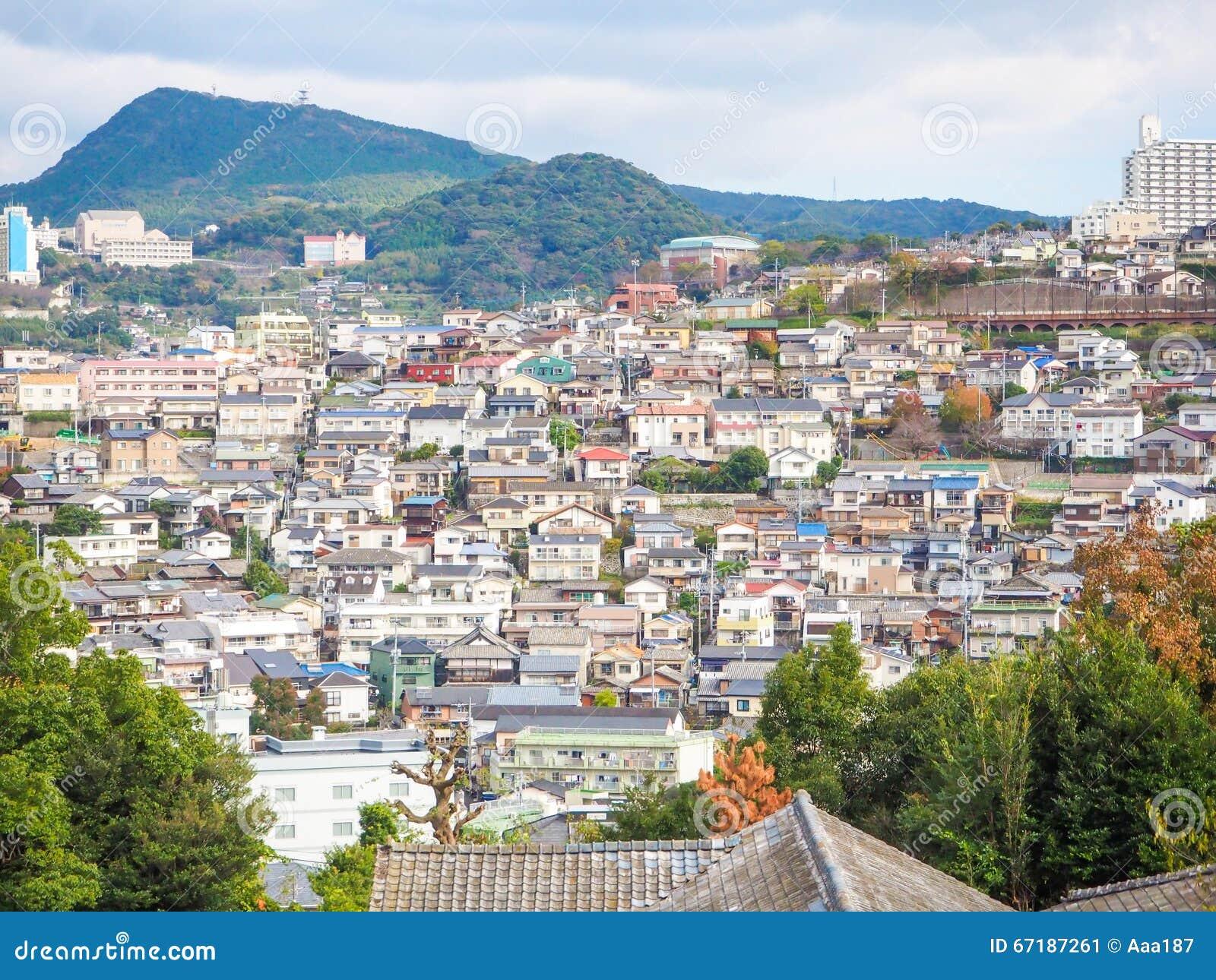 Mening van de stad van Nagasaki