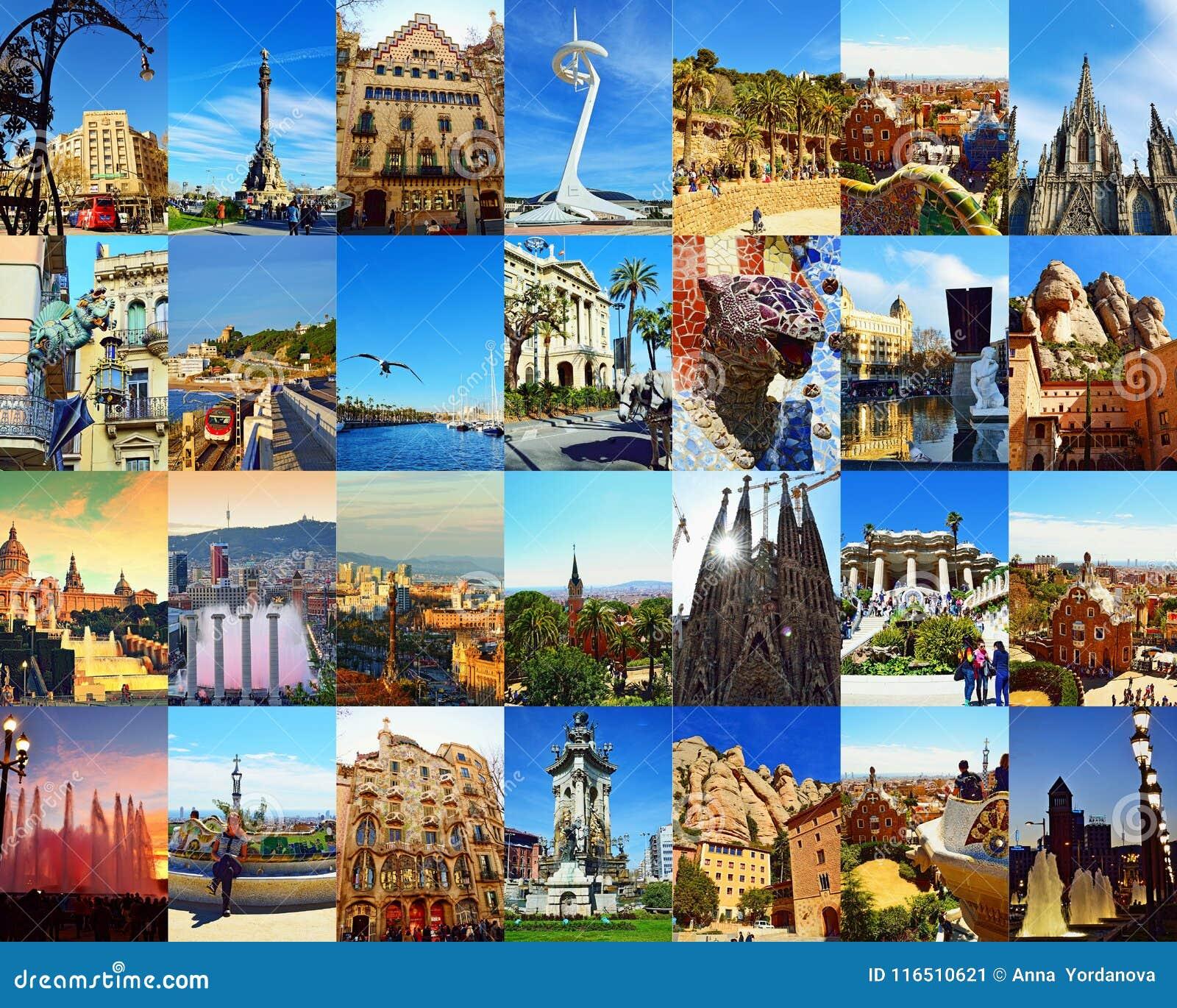 Mening van de de stadsprentbriefkaar van Barcelona de mooie