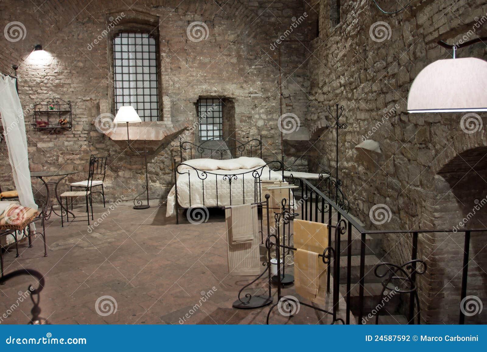 Mening Van Een Middeleeuwse Slaapkamer Perugia Stock Fotografie Afbeelding