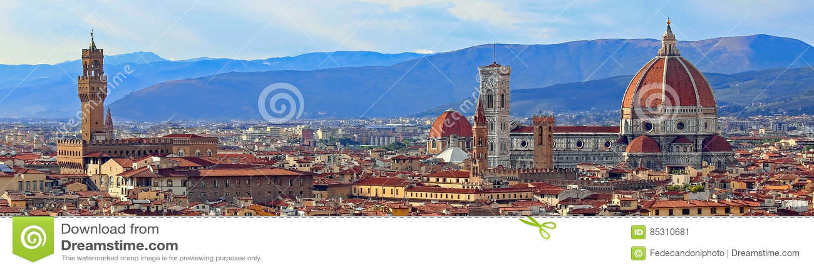 Mening van Florence met Oud Paleis en Koepel van Kathedraal van Mich