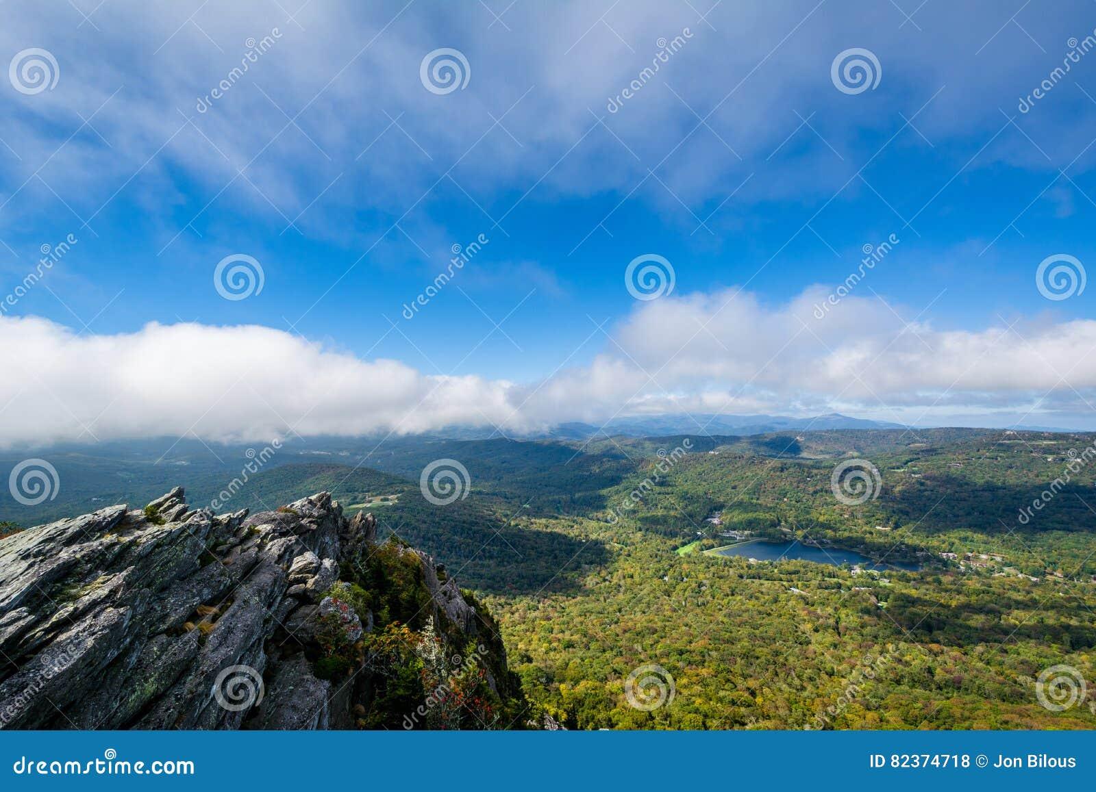 Mening van het Blauwe Meer van Ridge Mountains en van de Grootvader van Grand