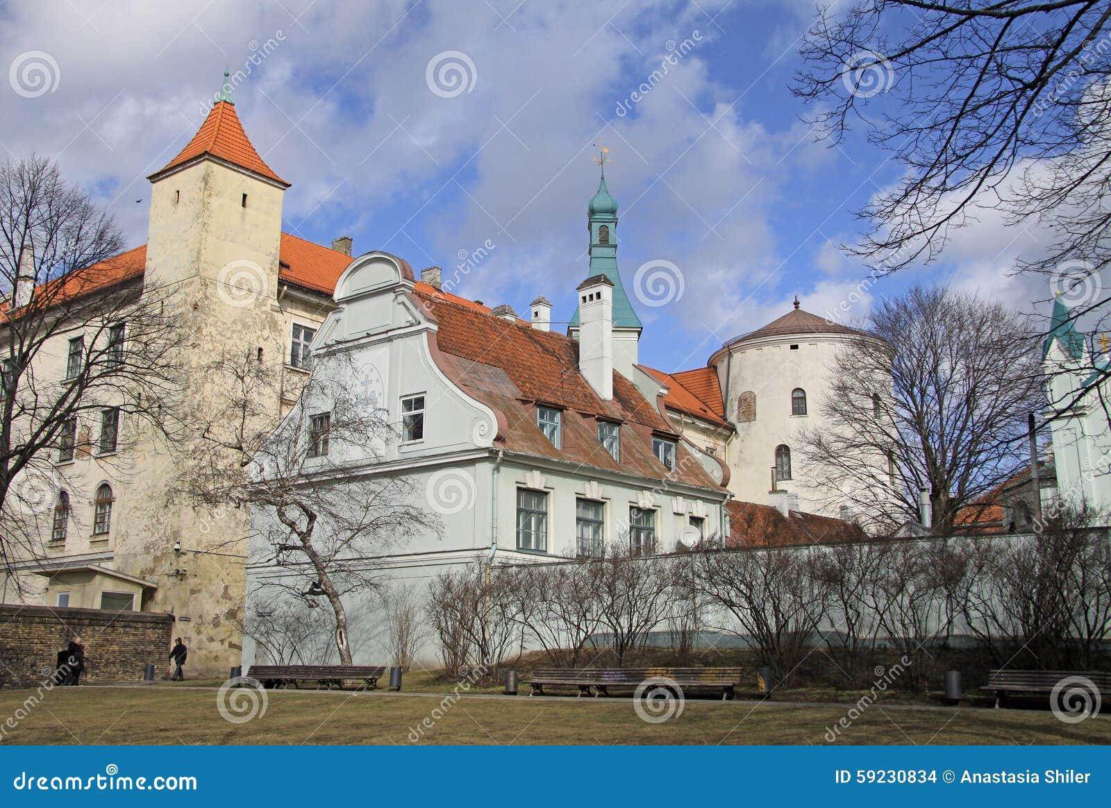 Mening van het kasteel van Riga Het kasteel is een woonplaats voor een president van Letland (Oude Stad, Riga, Letland)