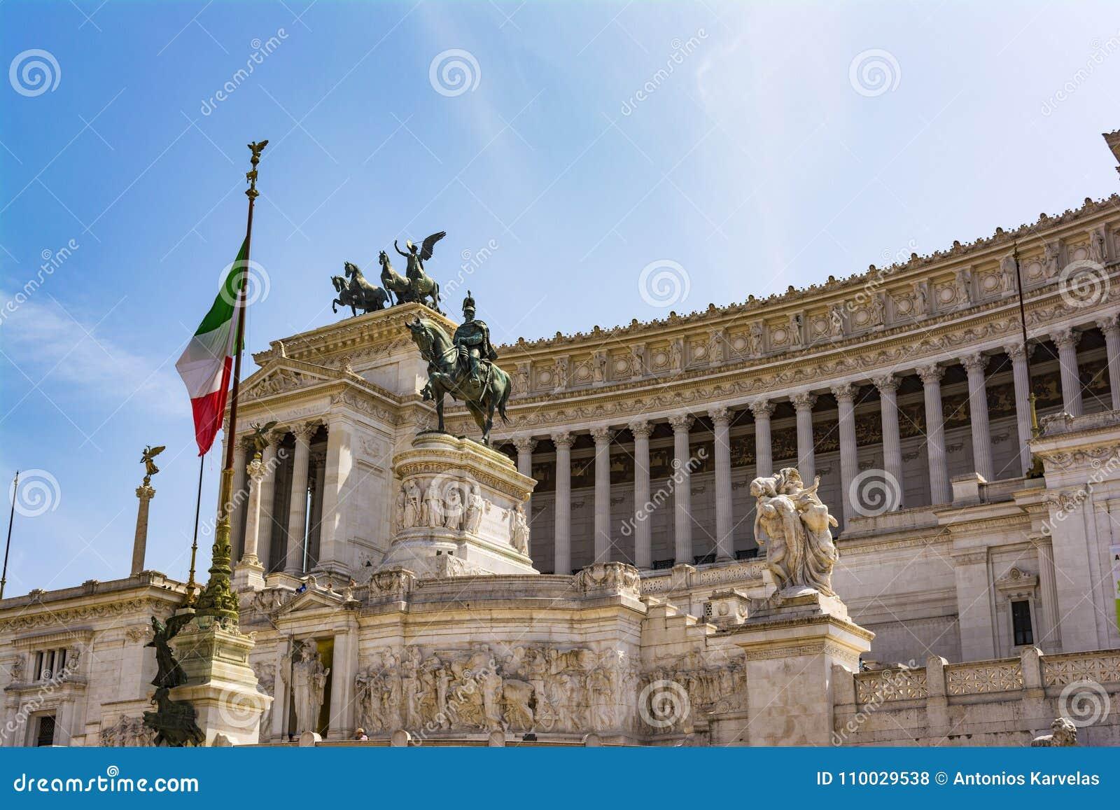 Mening van het nationale monument Vittorio Emanuele II, Piazza Venezia in Rome, Italië