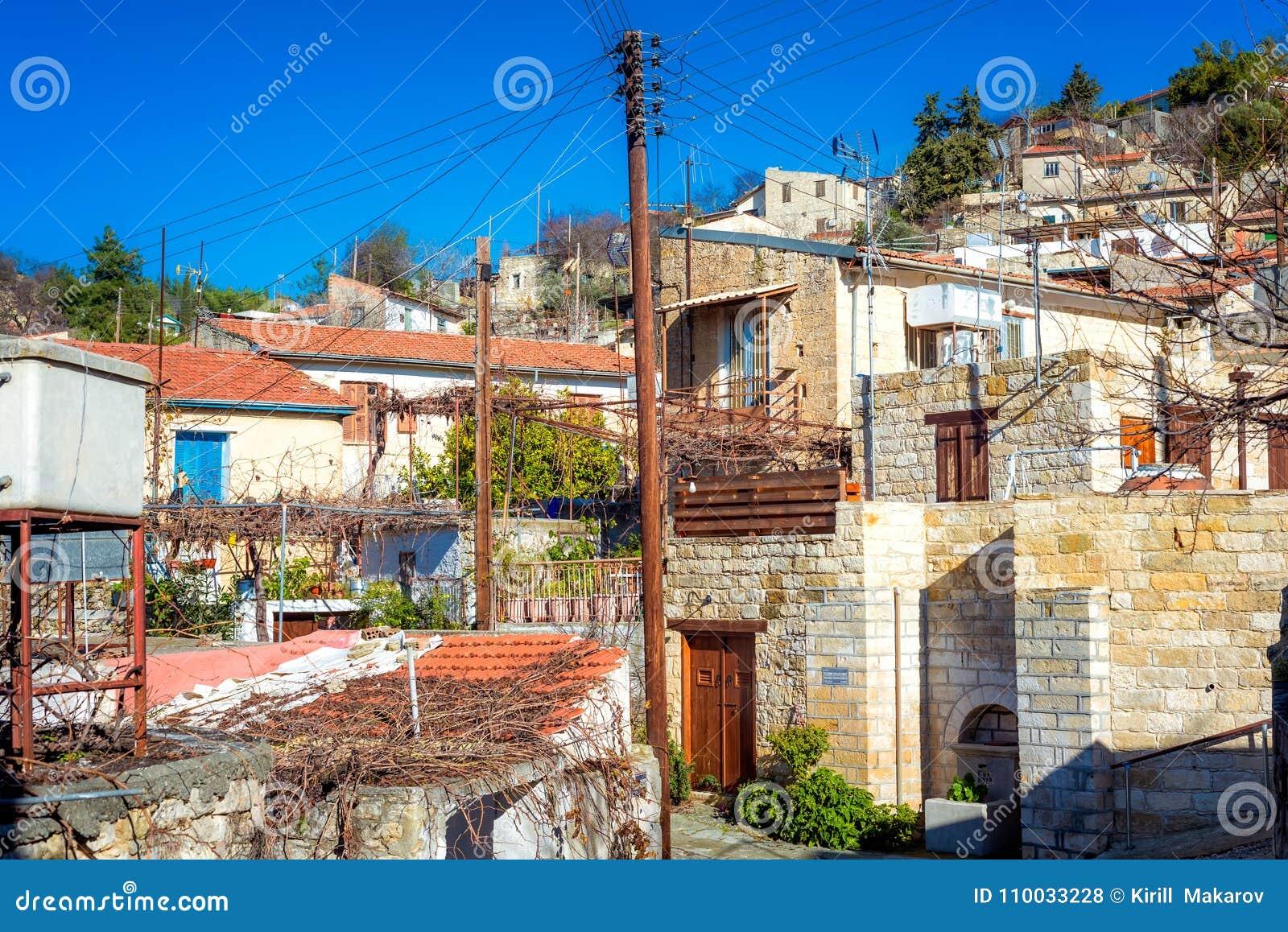 Mening van het schilderachtige dorp van Arsos Limassol district, Cyprus