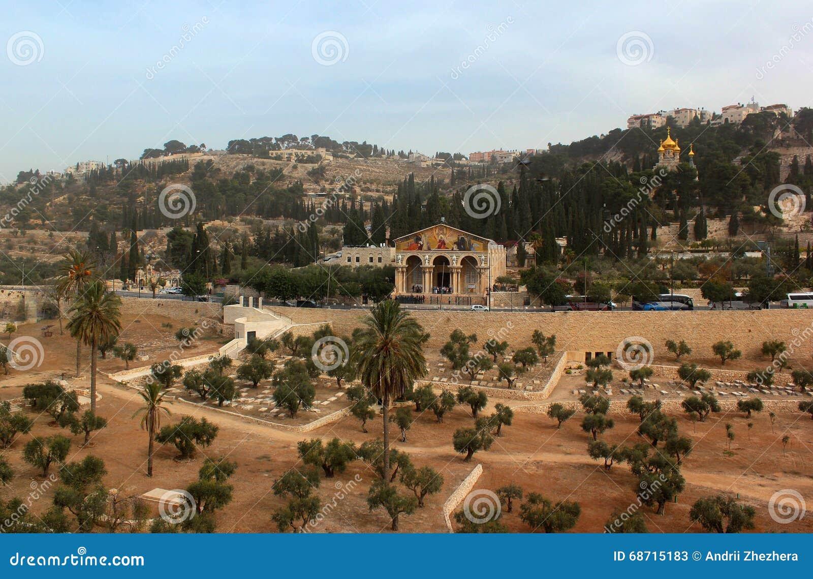 Mening van Kidron-Vallei met Tuin van Gethsemane-Kerk van Alle Naties