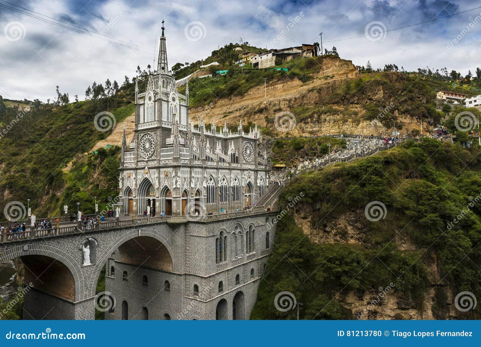 Mening van Las Lajas Sanctuary Santuario DE Las Lajas in Ipiales, Colombia