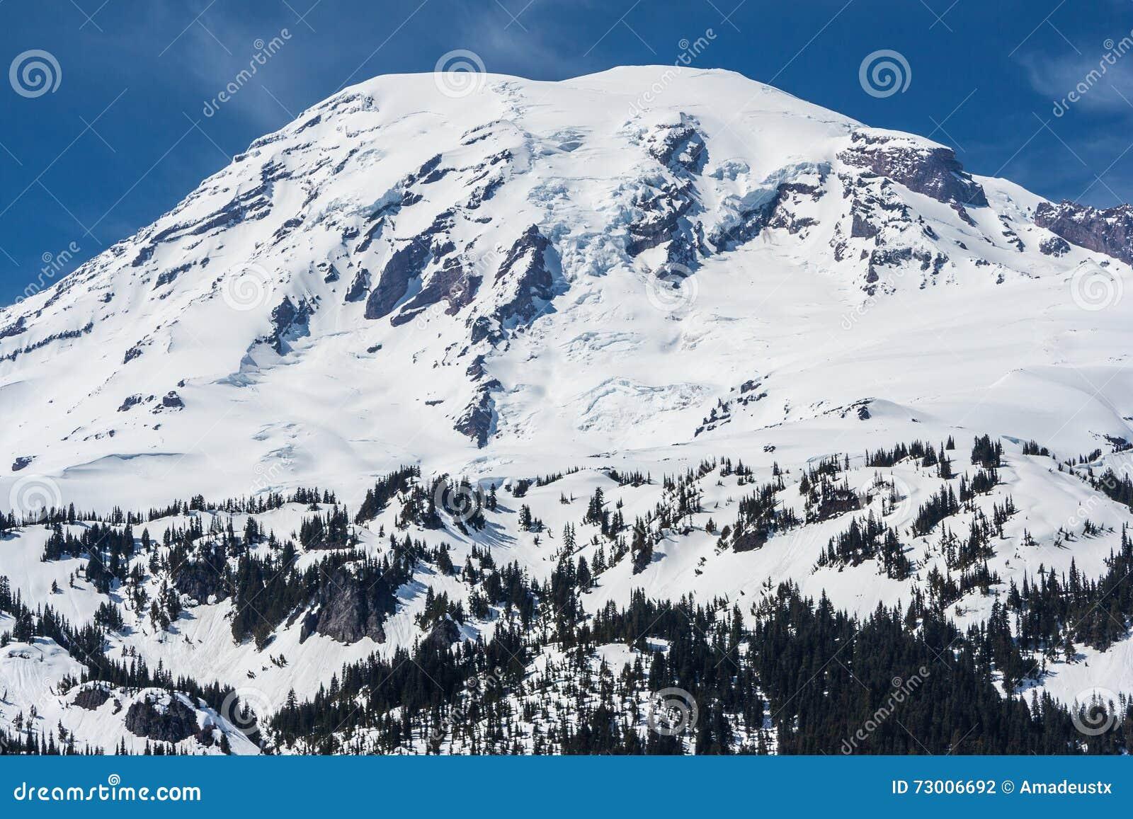 Mening van Onderstel Regenachtigere die top door sneeuw Washington de V.S. wordt behandeld