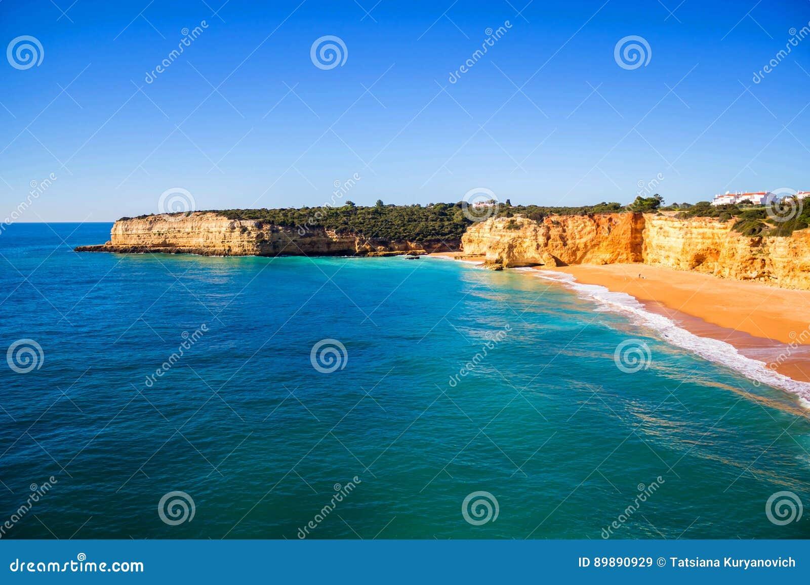 Mening van Praia DA Senhora Rocha, Algarve gebied, Portugal