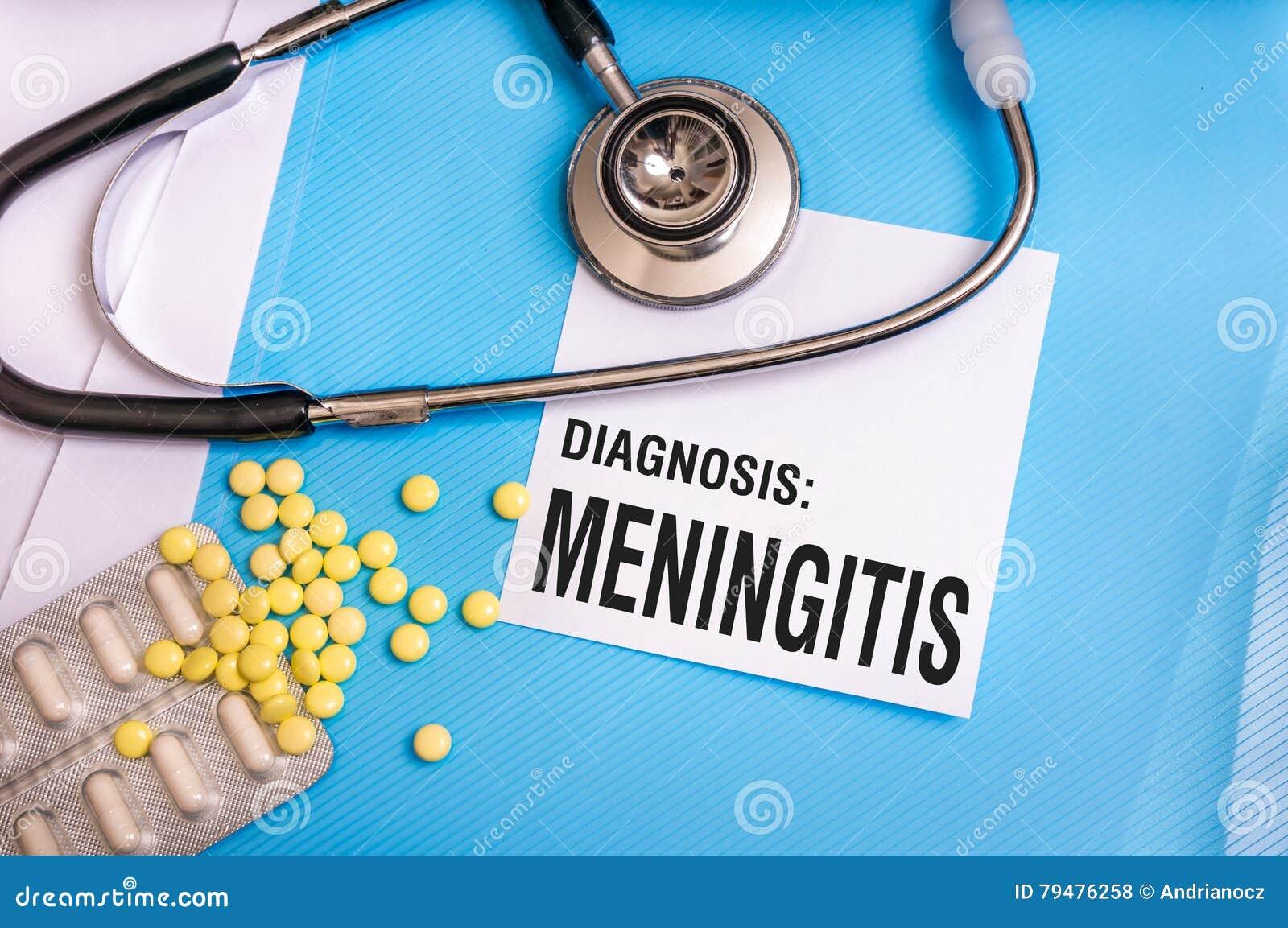 Meningitis word written on medical blue folder