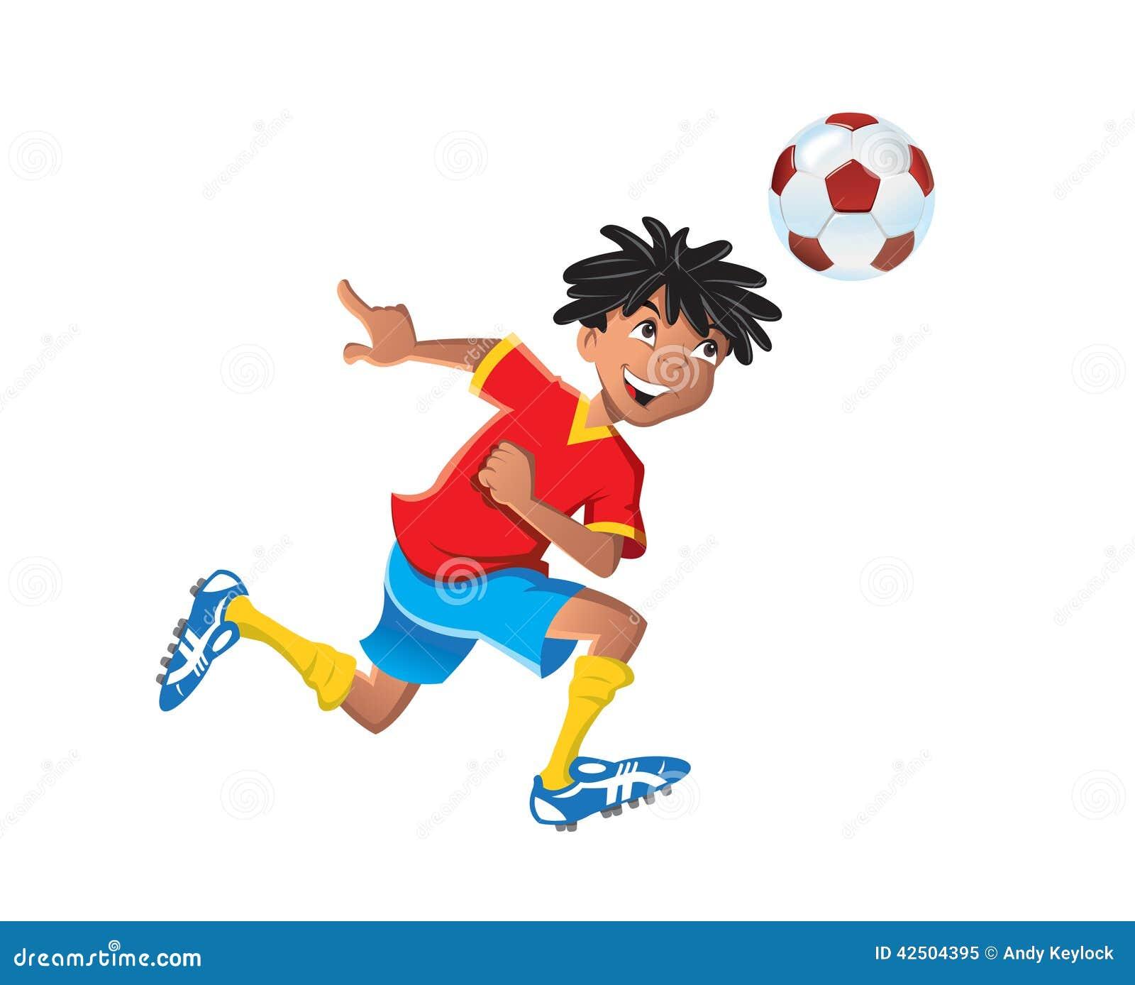 Menino étnico que joga o futebol