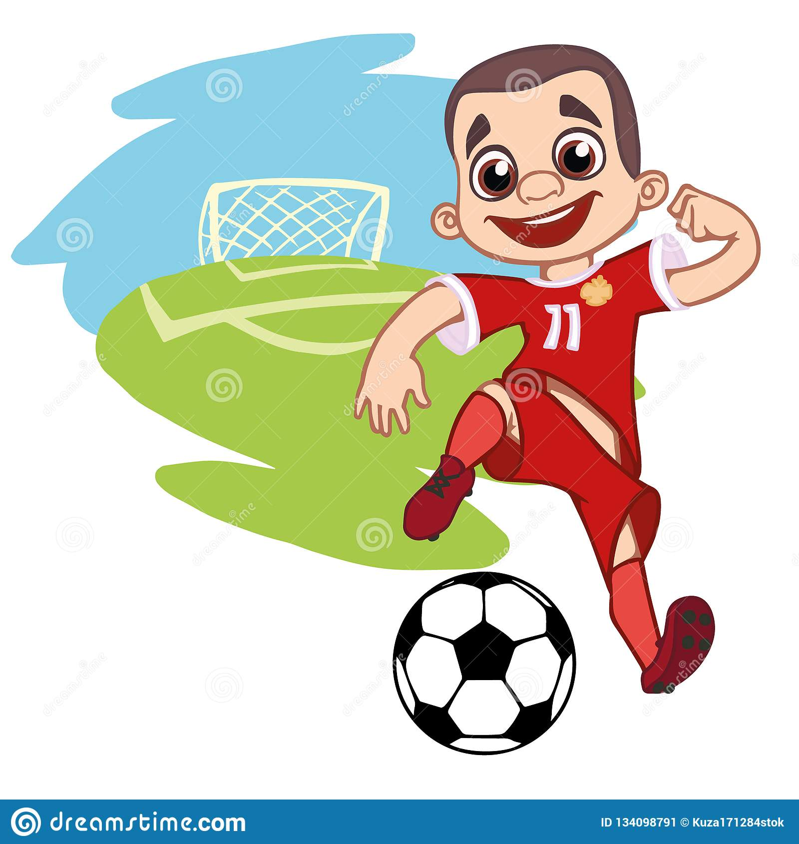 Menino alegre que joga o futebol
