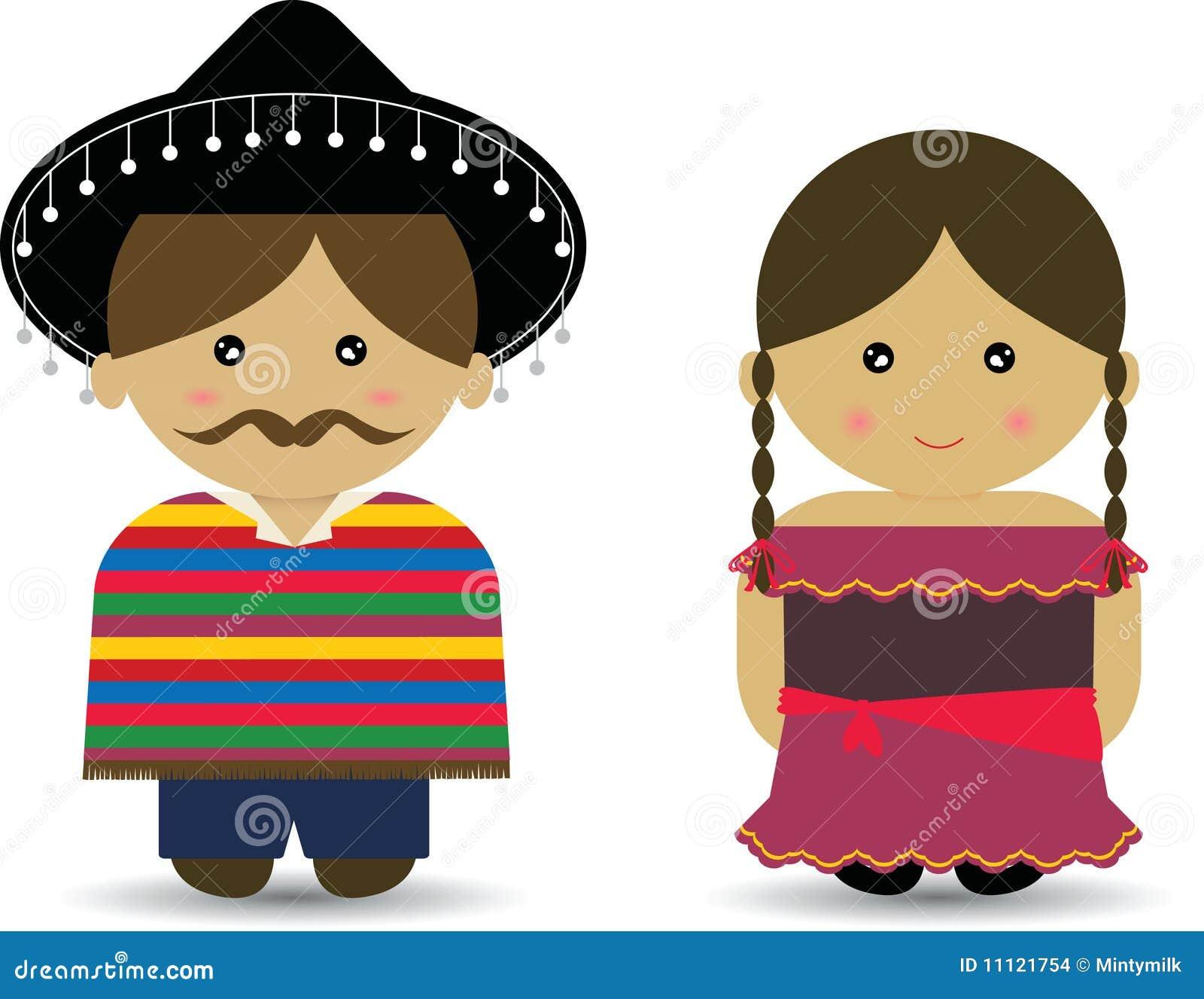 5a8840f8dc345 Menino   Menina Mexicanos Ilustração Stock - Ilustração de pares ...
