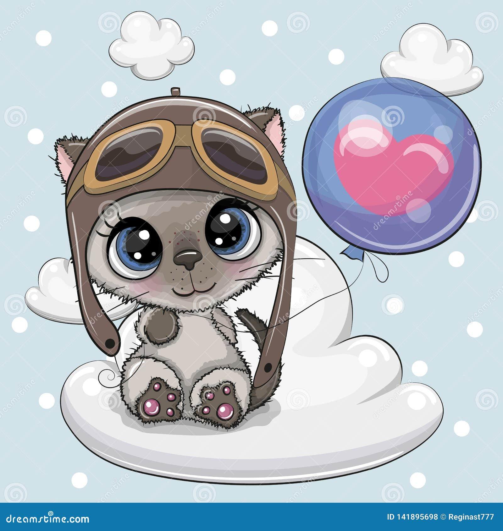 Menino bonito do gatinho dos desenhos animados com balão