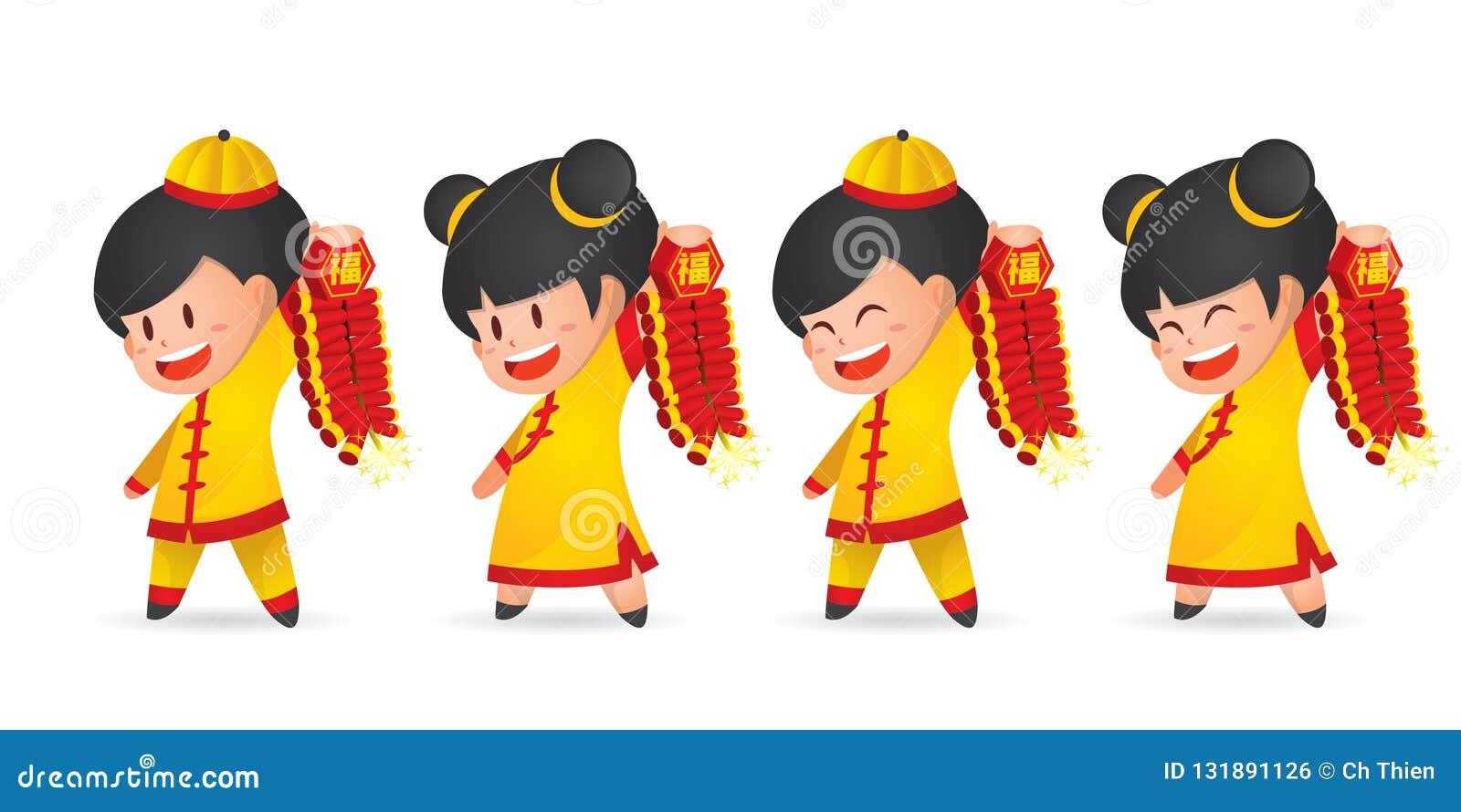 Menino chinês e menina do ano novo dos desenhos animados bonitos que têm o divertimento com o foguete, isolado no branco