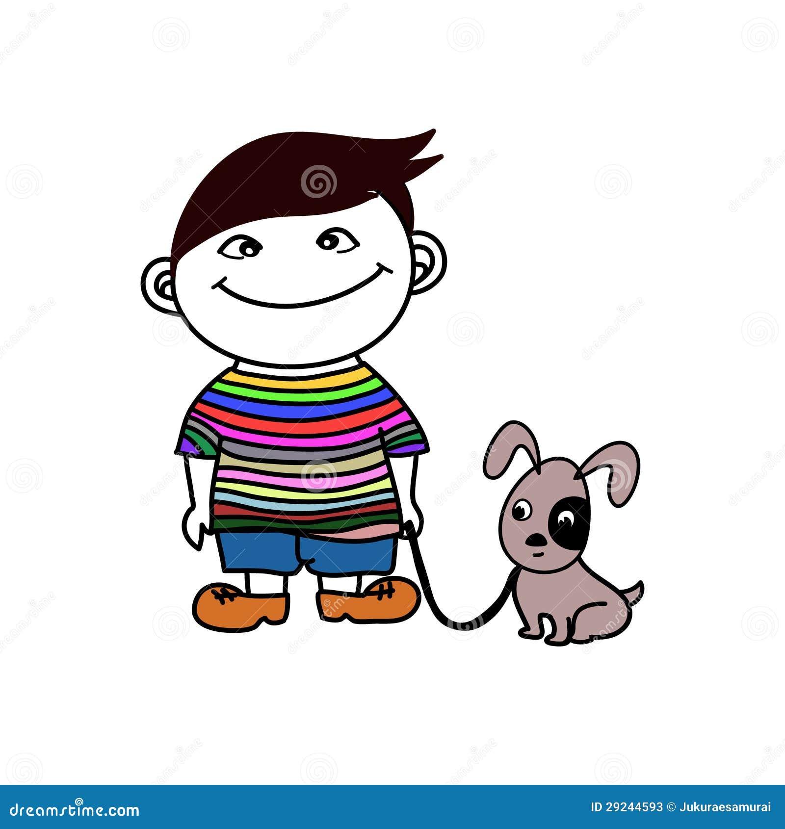 Download Menino com amigo do cão ilustração do vetor. Ilustração de caráteres - 29244593