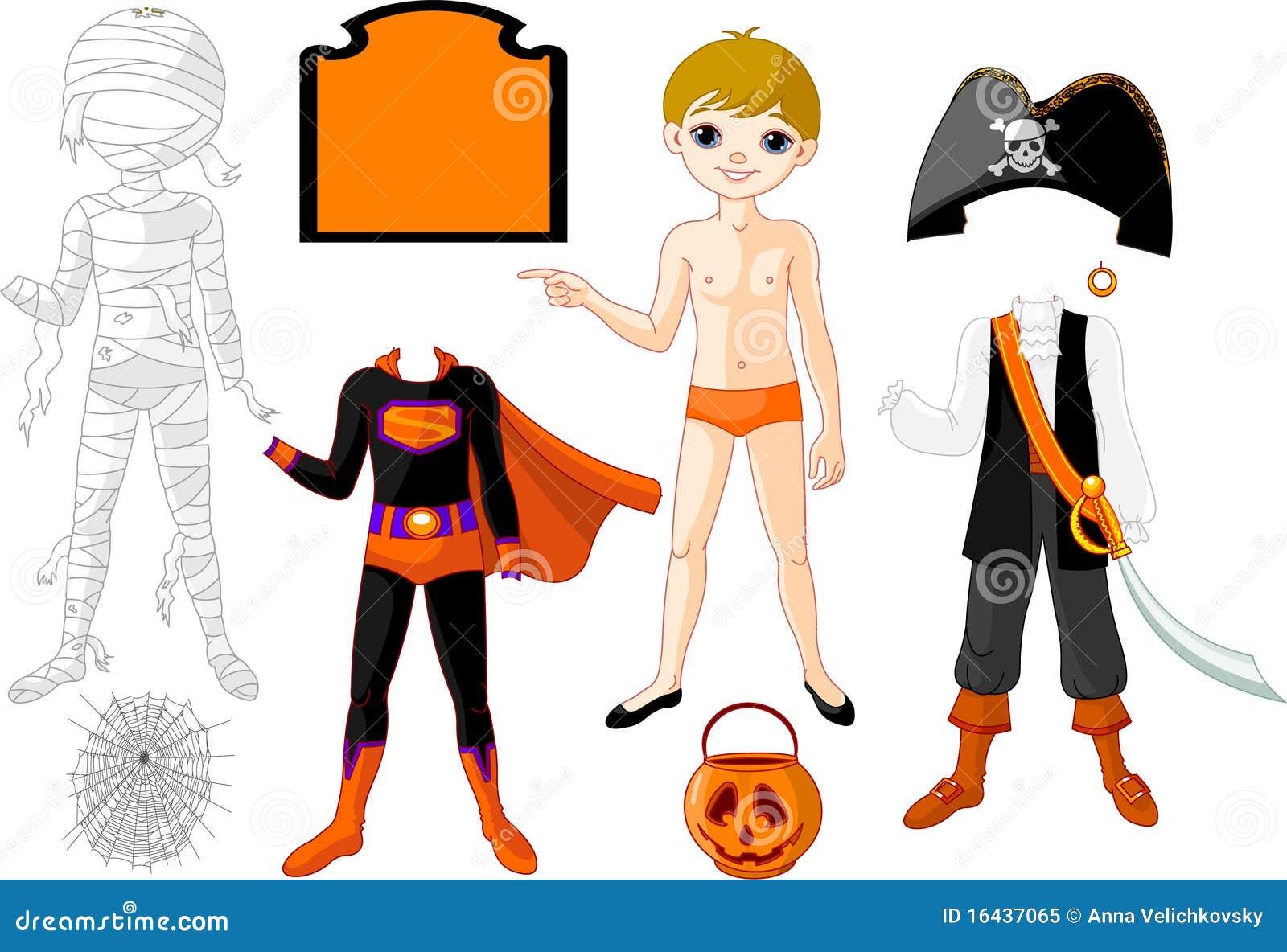 Menino com os trajes para o partido de Halloween