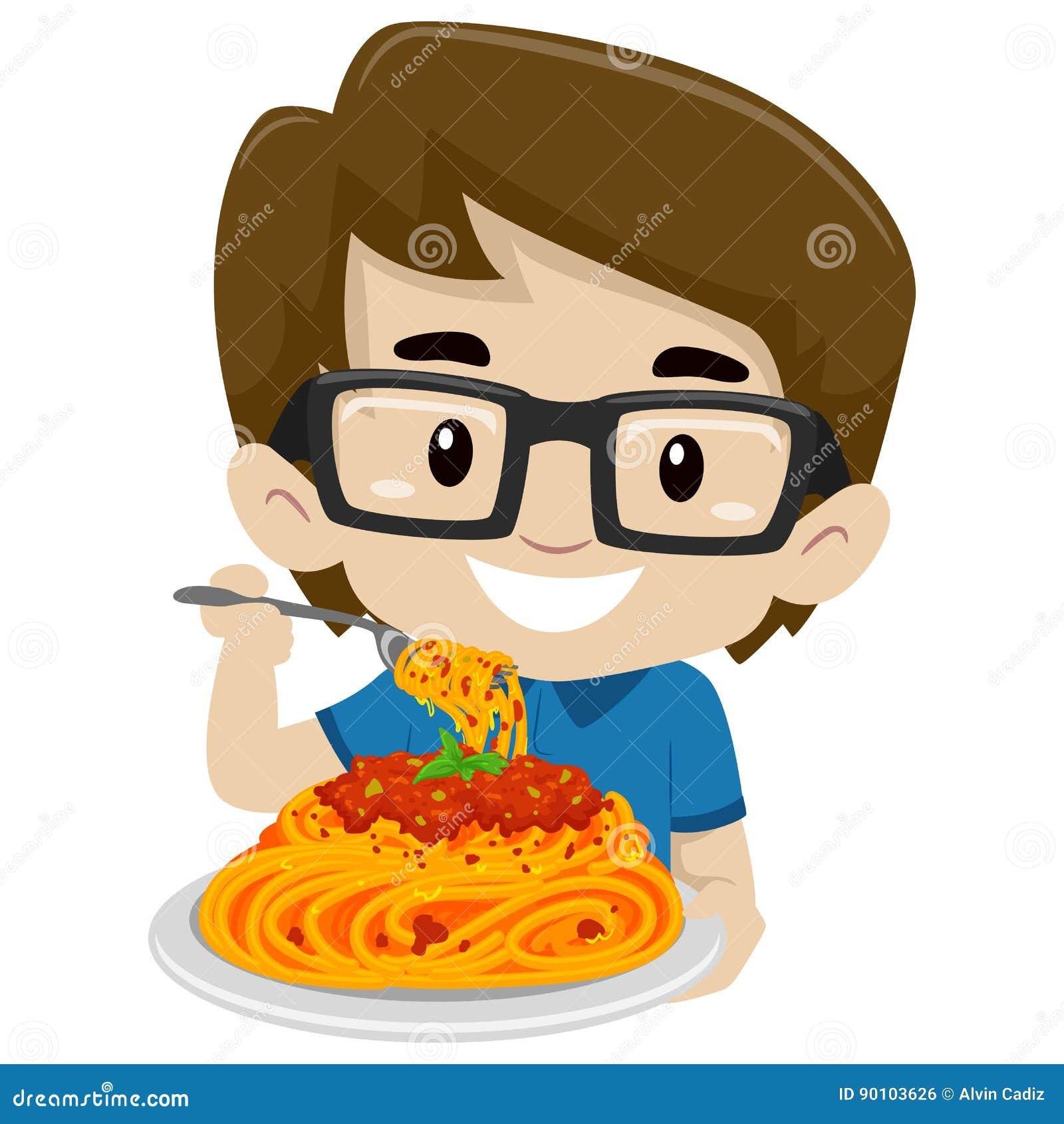 Menino da criança que come os espaguetes