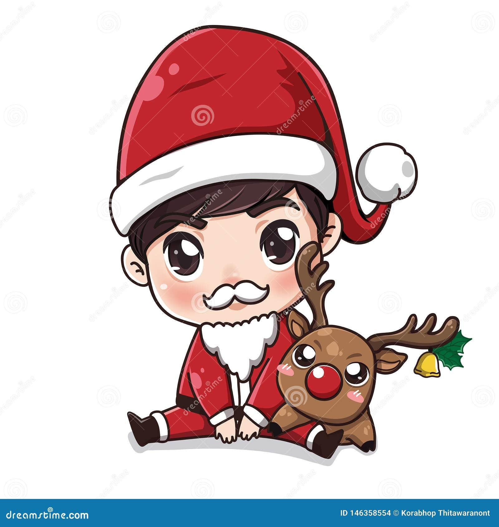 Menino de Santa Claus e cervos pequenos
