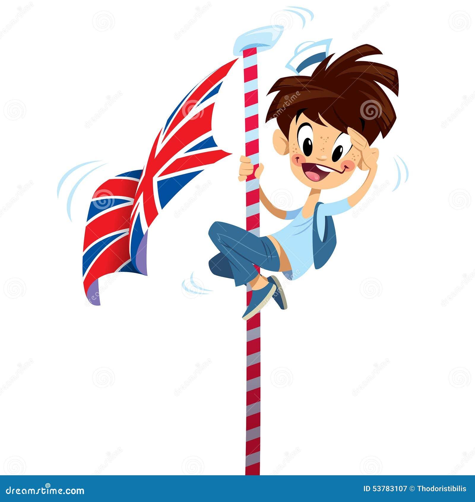 Menino de sorriso feliz entusiasmado dos desenhos animados - Dibujo bandera inglesa ...
