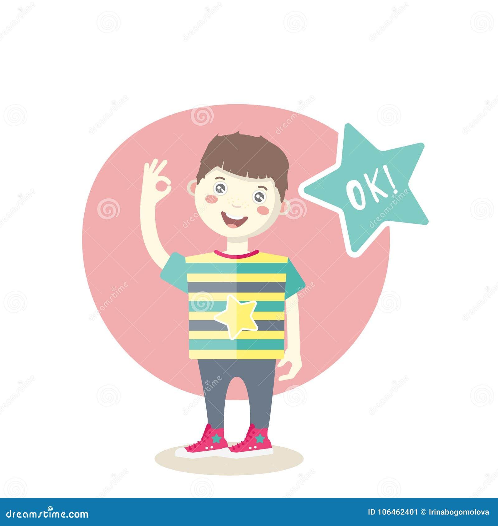 Menino de sorriso pequeno caucasiano que mostra um sinal aprovado