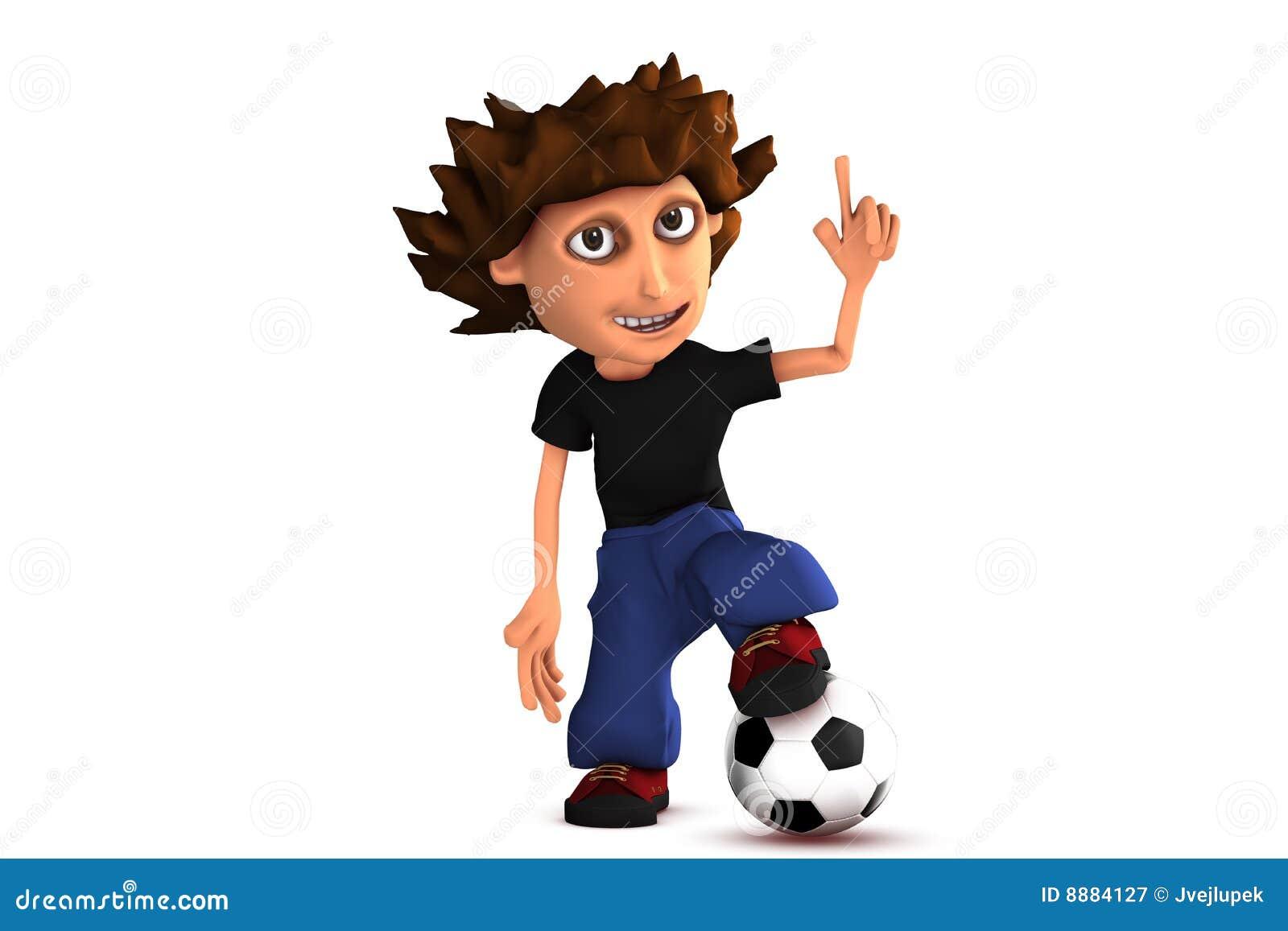 menino do futebol dos desenhos animados 3d fotografia de