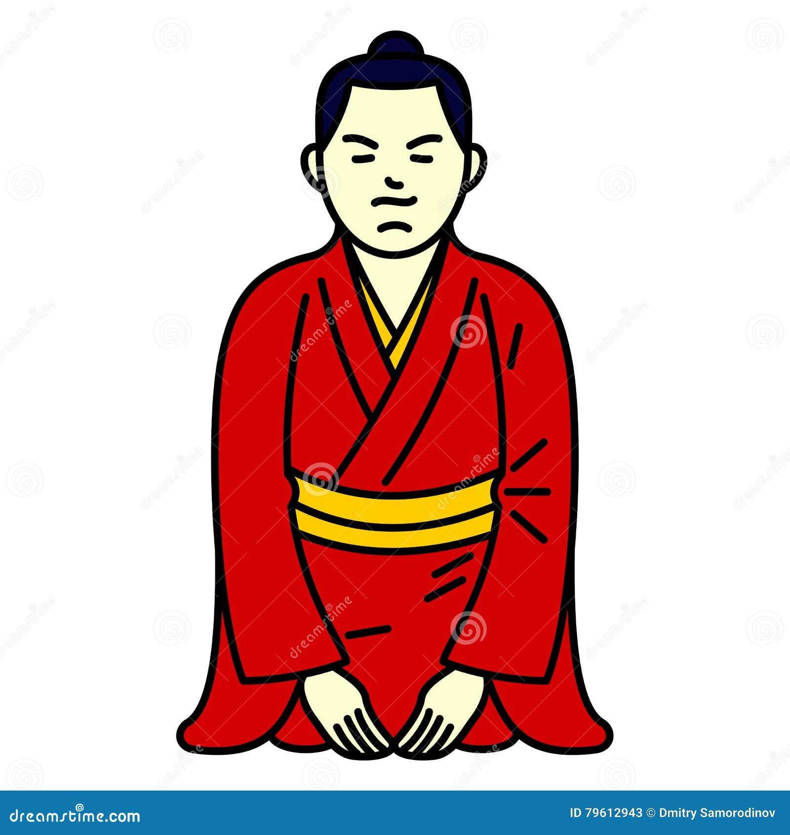 Menino do japonês da ilustração do vetor