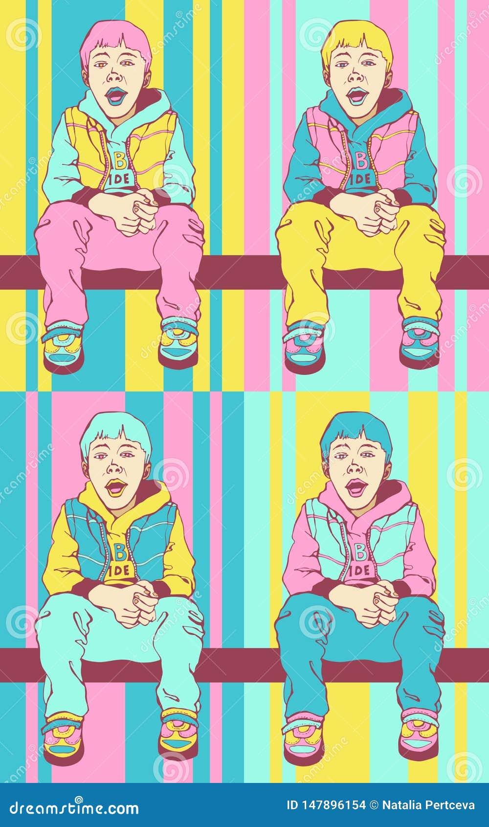 Menino do pop art Gajo pequeno fresco A criança está sentando-se na barra transversal Fundo colorido no estilo cômico retro do po