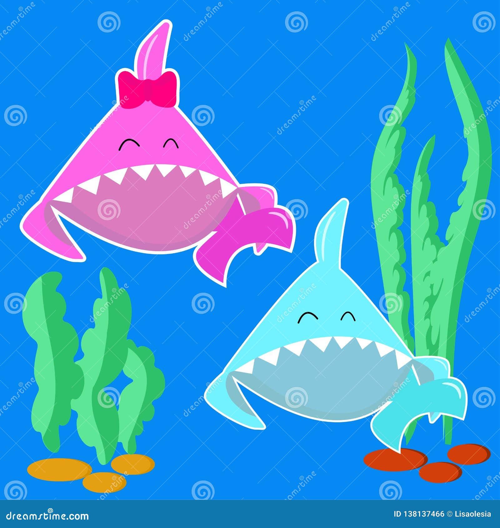 Menino do tubarão do bebê azul e menina cor-de-rosa do tubarão do bebê caráter dos peixes dos desenhos animados isolado no fundo