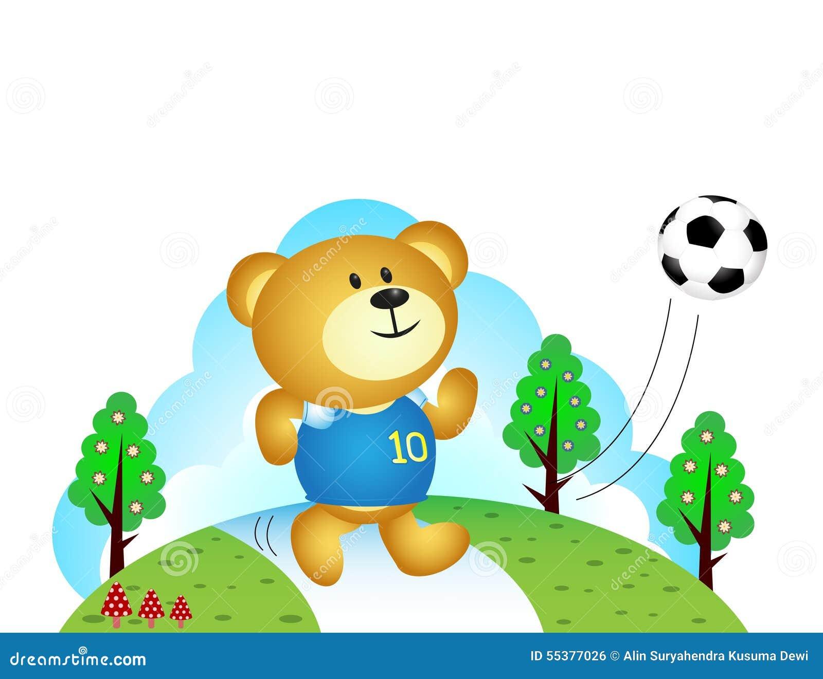 Menino Do Urso Que Joga O Futebol Ilustracao Do Vetor Ilustracao