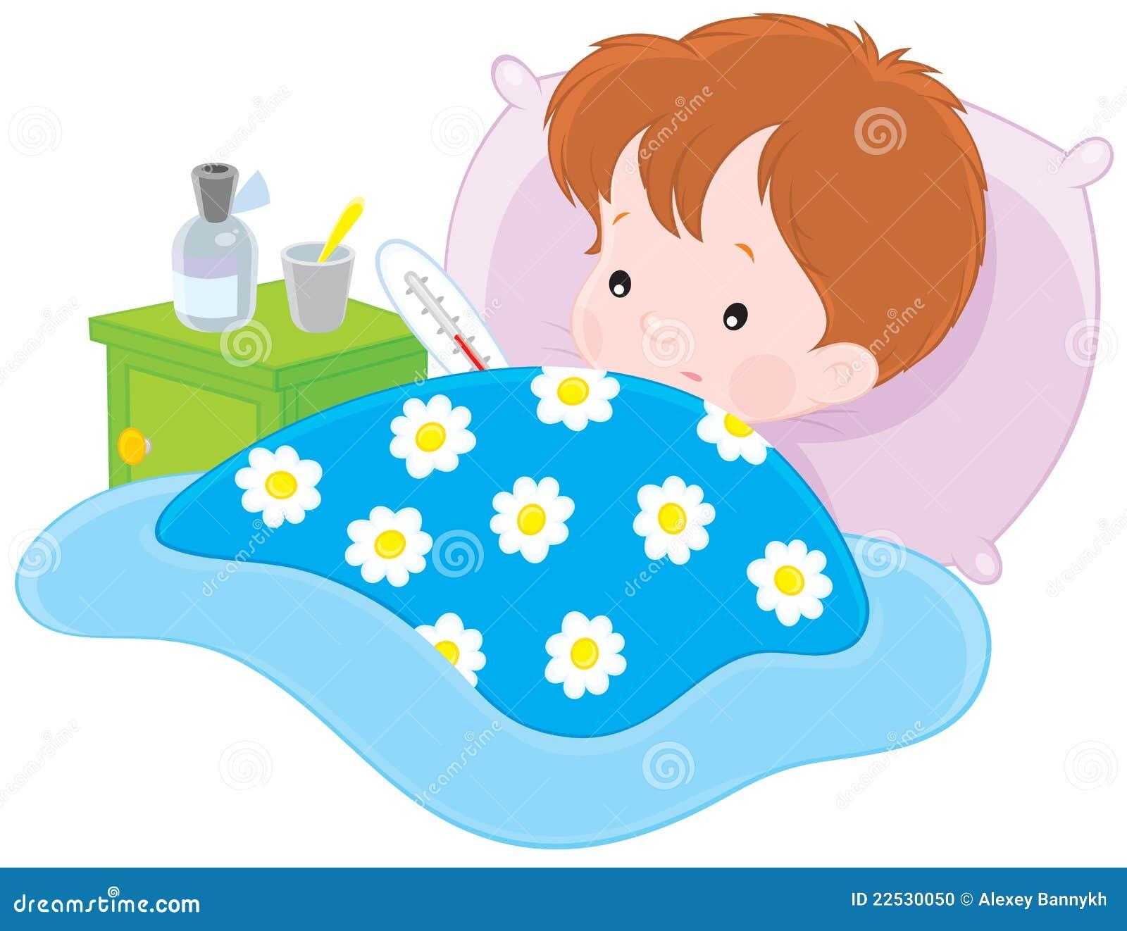 ...ребенок,детство,по-детски,детски,детски,холод,картинки,клипарт,холодная,болезнь,рисование. больной мальчик лежал с...