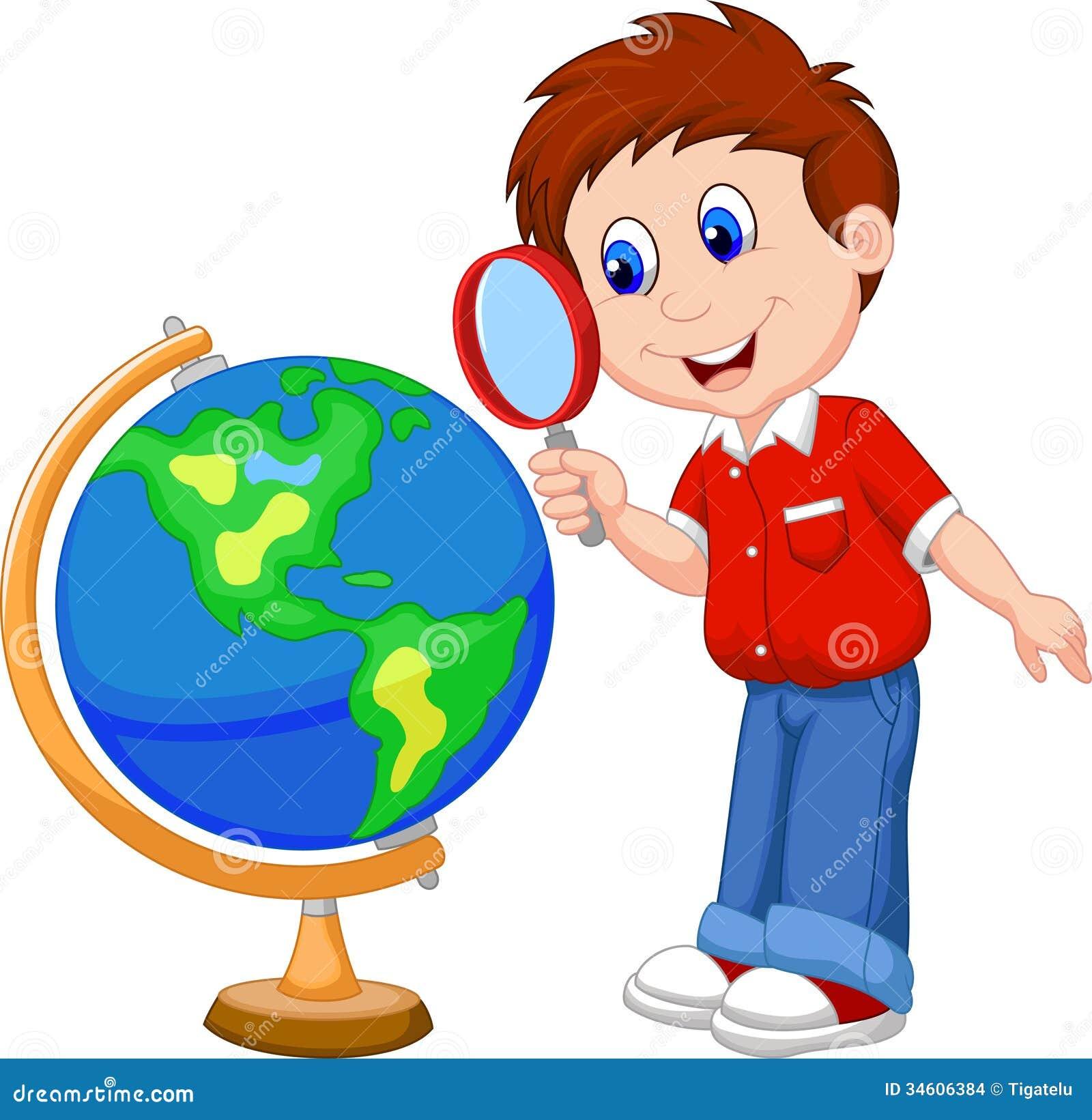 Menino dos desenhos animados que usa a lupa que olha o globo imagens de stock imagem 34606384 - Oglo o ...