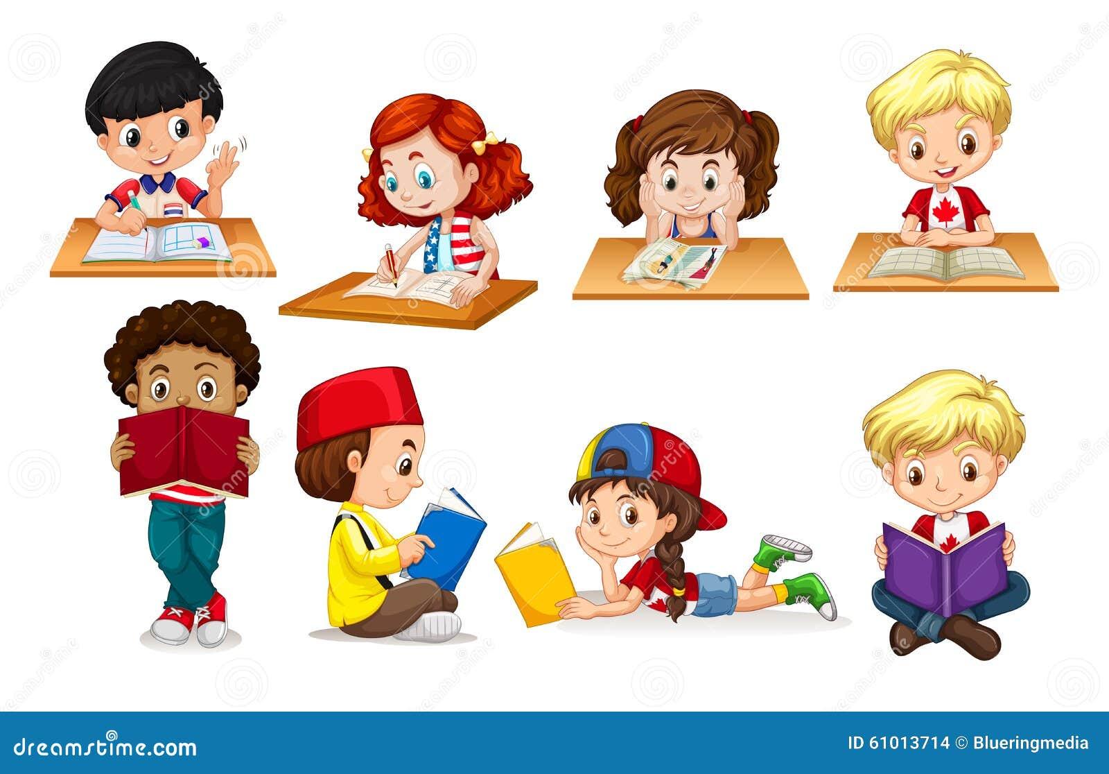Meninos E Meninas De Nacionalidades Diferentes Childre: Menino E Leitura E Escrita Da Menina Ilustração Do Vetor