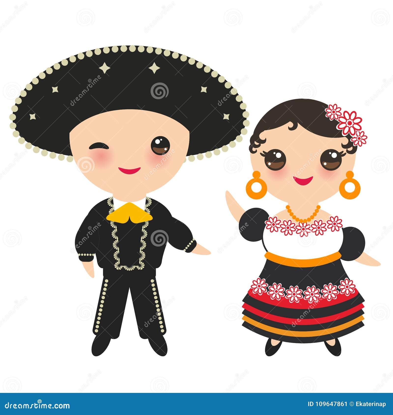 Menino e menina mexicanos no traje e no chapéu nacionais Crianças dos desenhos animados no vestido tradicional de México Isolado