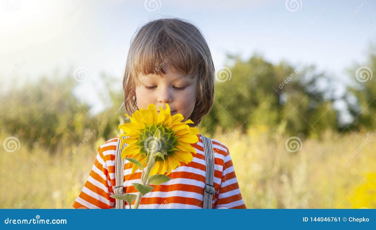 Menino feliz com girassol fora Jogo de crian?as no jardim