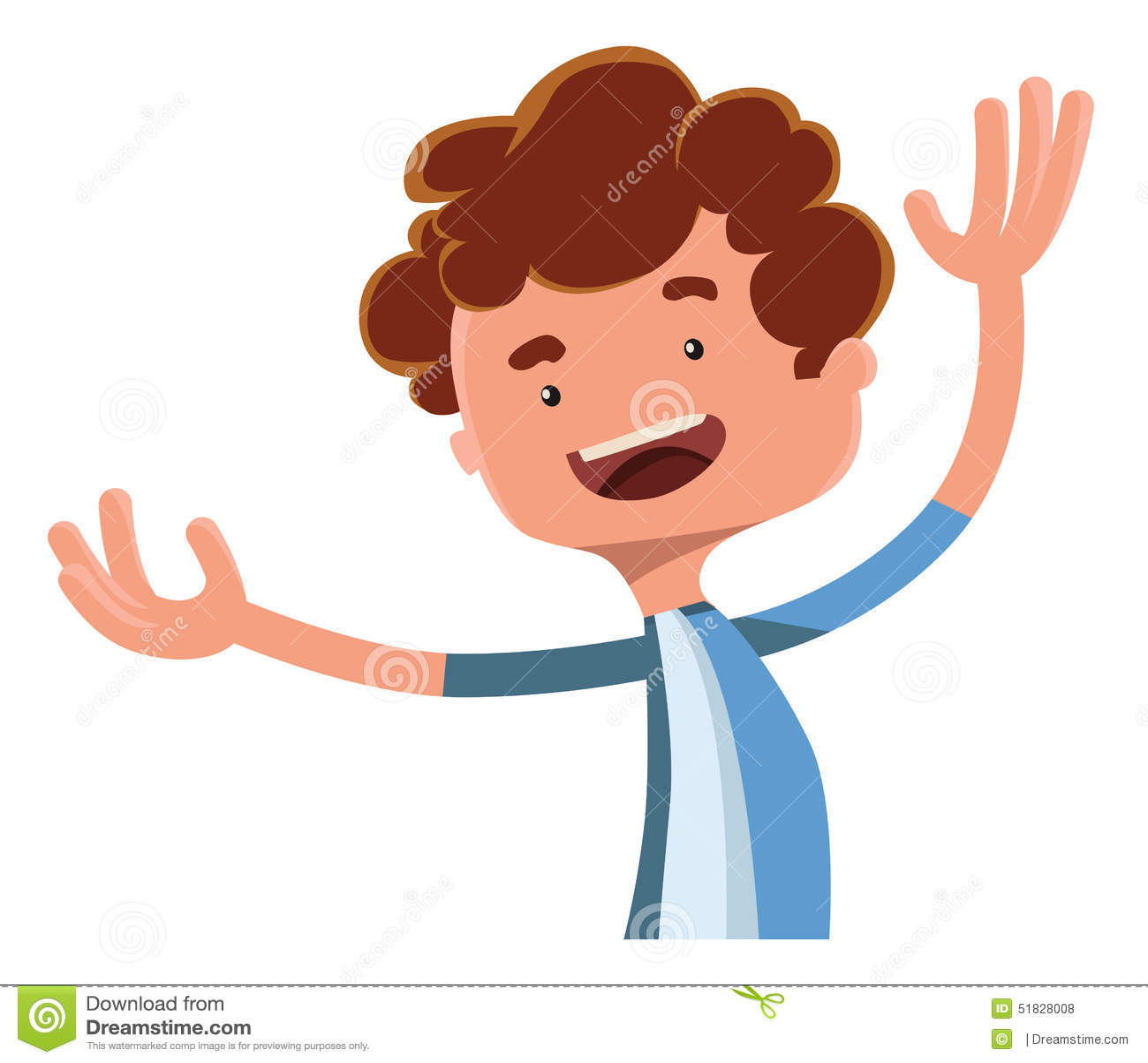 Menino feliz que espalha seu personagem de banda desenhada da ilustração dos braços