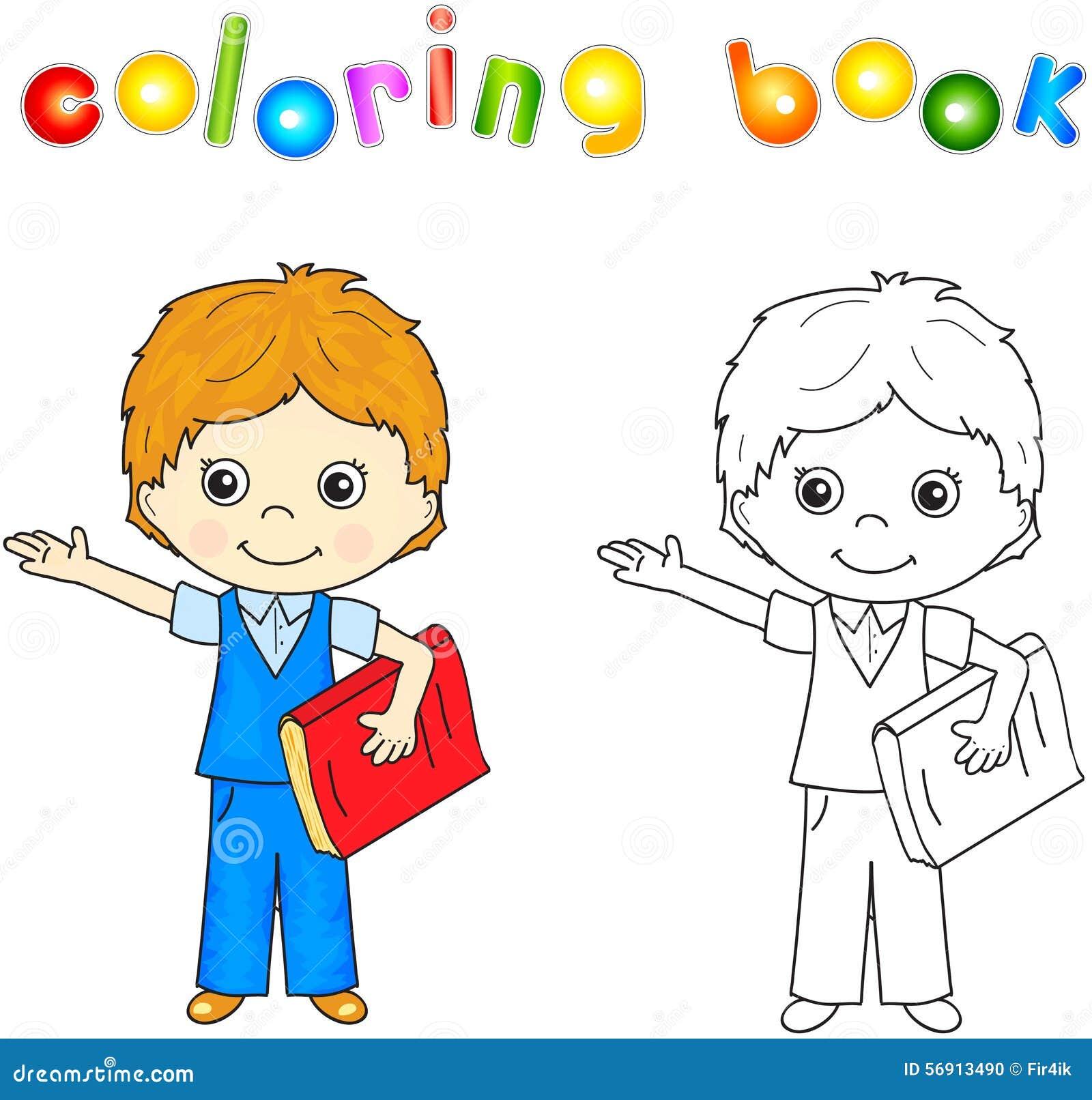 Menino Na Farda Da Escola Com Livro Vermelho Livro Para Colorir