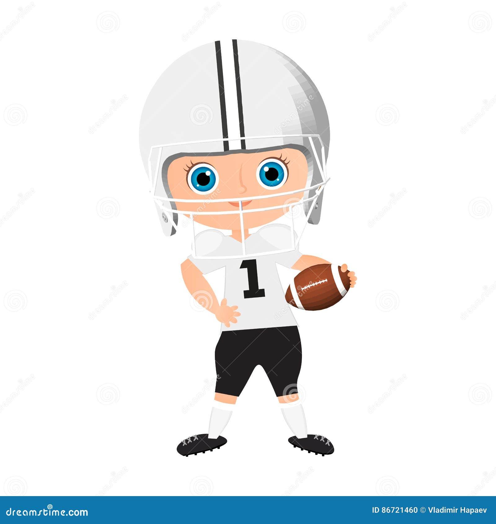 Menino novo Criança que joga o futebol americano Vector a ilustração eps 10  isolada no fundo e675250809923