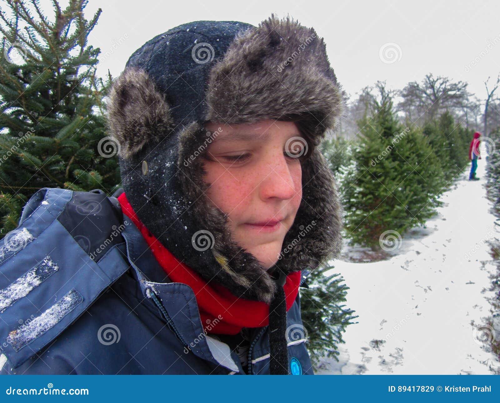 Menino novo na exploração agrícola de árvore do Natal no inverno