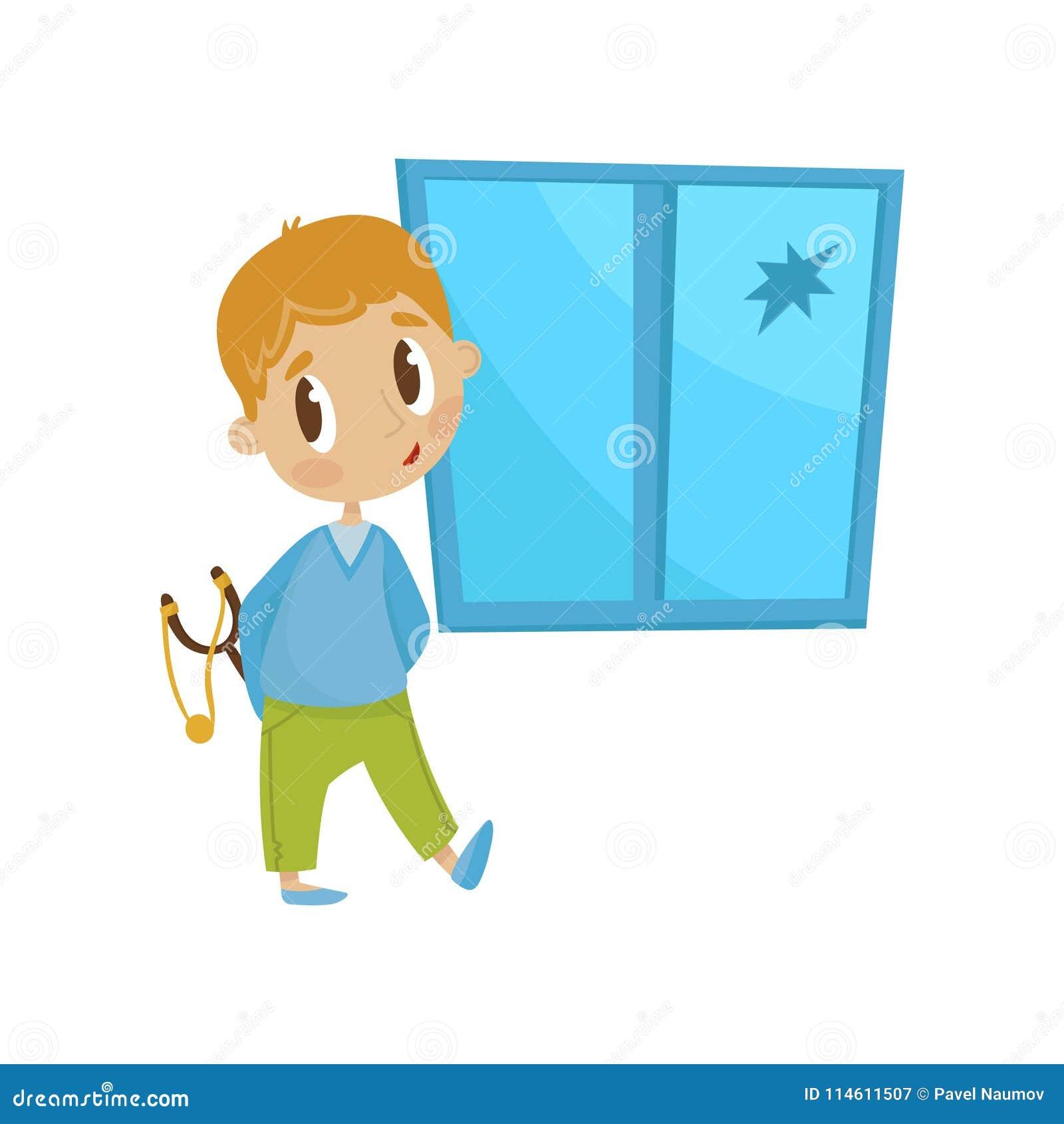Menino pequeno bonito com um estilingue na frente da janela deixada de funcionar, criança alegre da intimidação das gorilas, veto