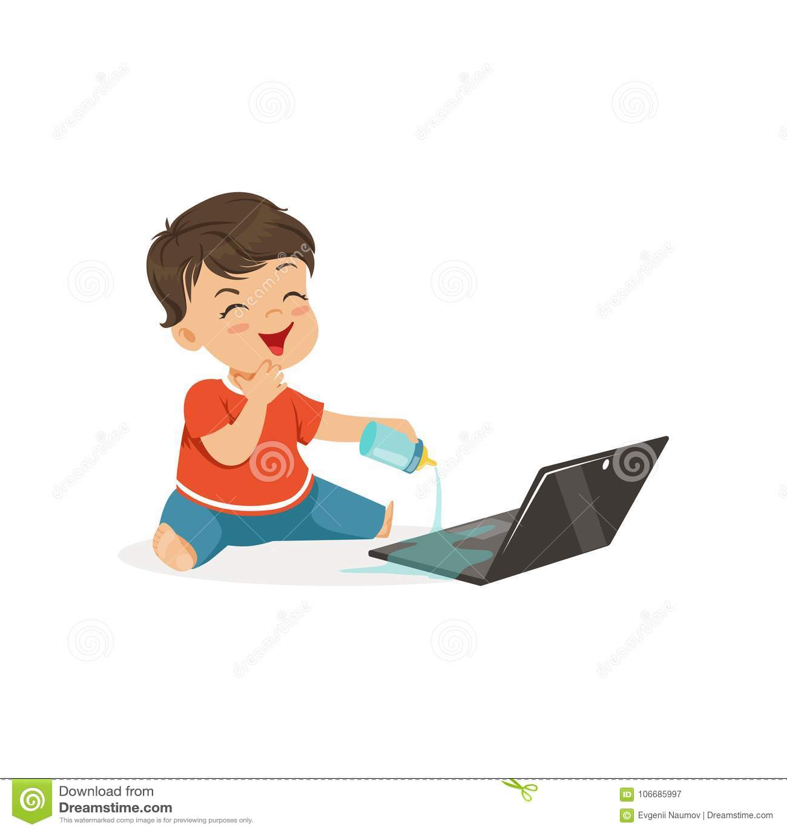Menino pequeno bonito da intimidação que derrama a água em um portátil, criança alegre das gorilas, ilustração má do vetor do com