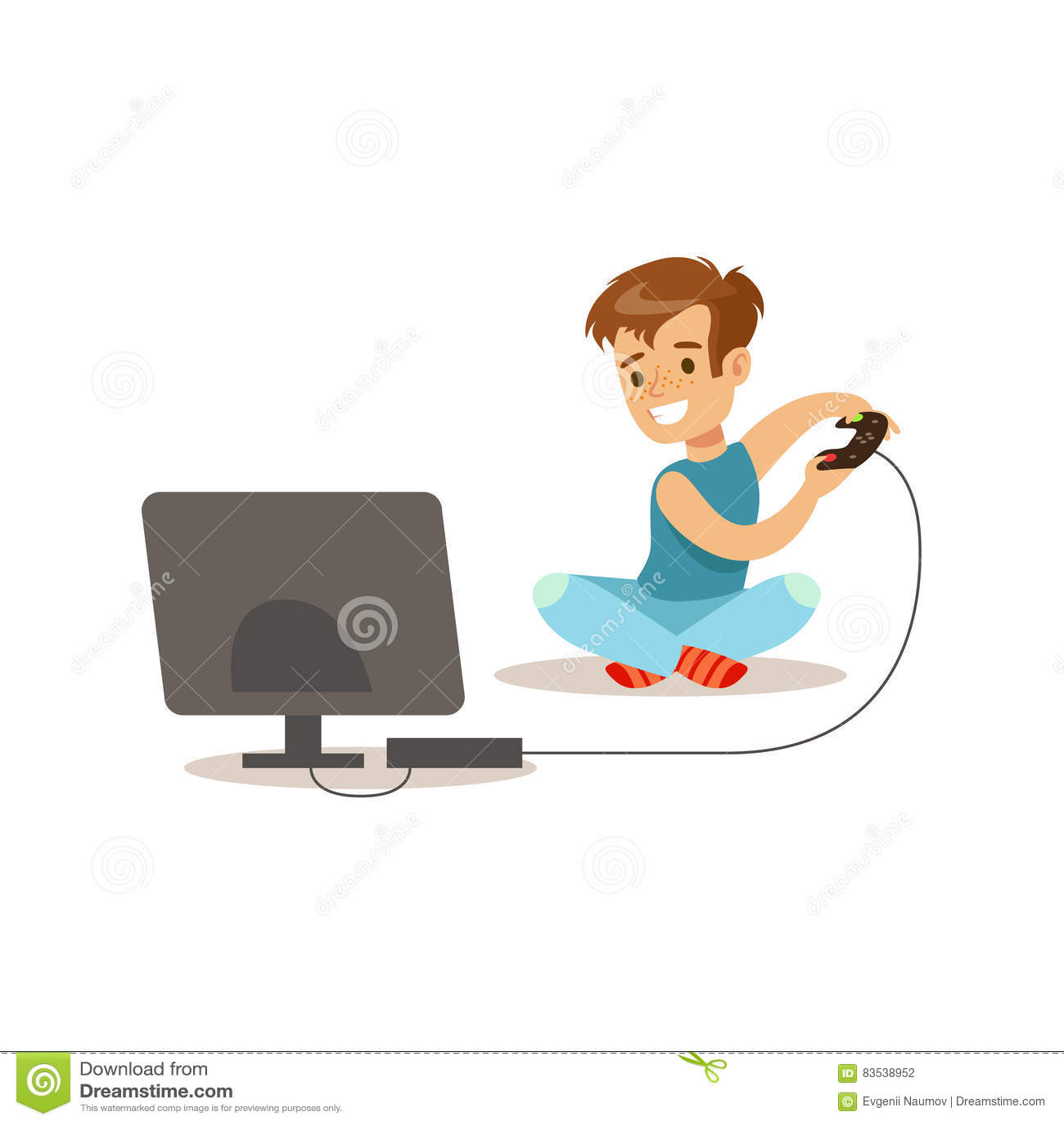 Menino que joga jogos de vídeo do console, ilustração clássica prevista do comportamento da criança papel masculino tradicional