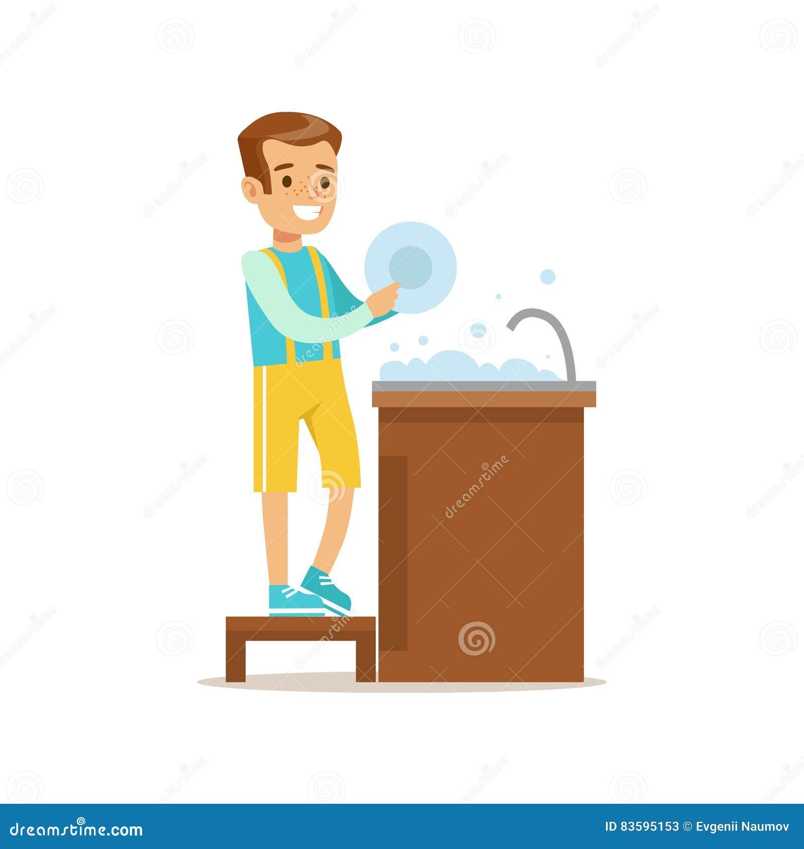 Menino que lava o caráter de sorriso da criança dos desenhos animados dos pratos que ajuda com tarefas domésticas e que faz a lim
