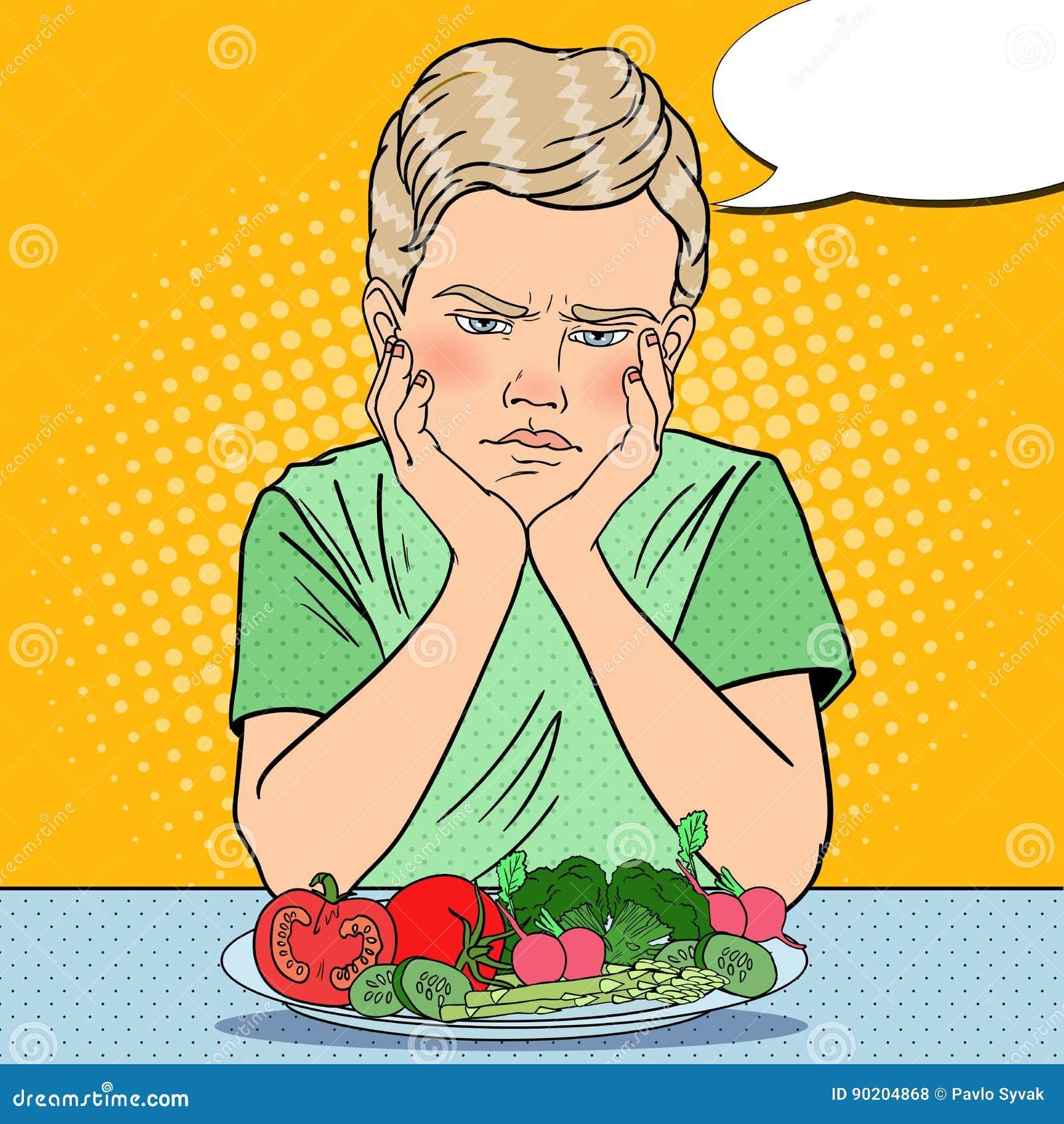 Menino virado com a placa de legumes frescos Comer saudável Ilustração retro do pop art
