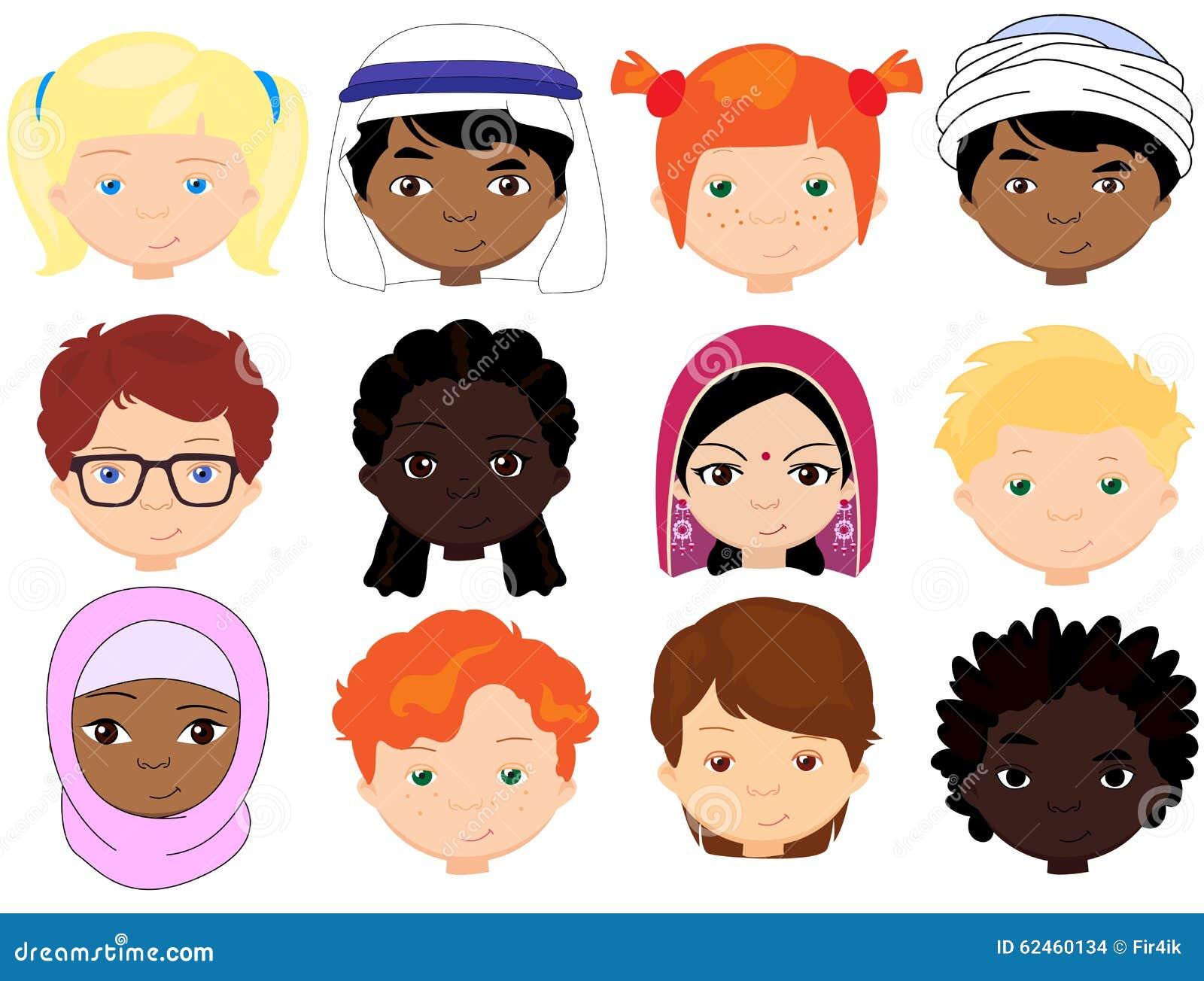 Para Niños De Dibujos Animados Caras Diferentes: Meninos E Meninas De Nacionalidades Diferentes Childre