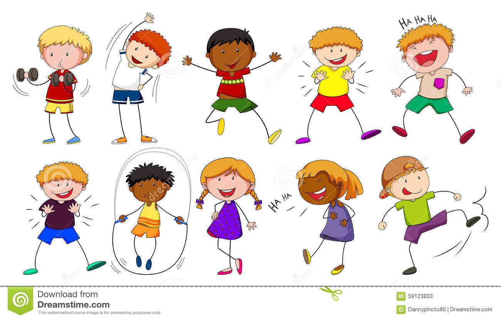 Meninos E Meninas De Nacionalidades Diferentes Childre: Meninos E Meninas Que Fazem Atividades Diferentes