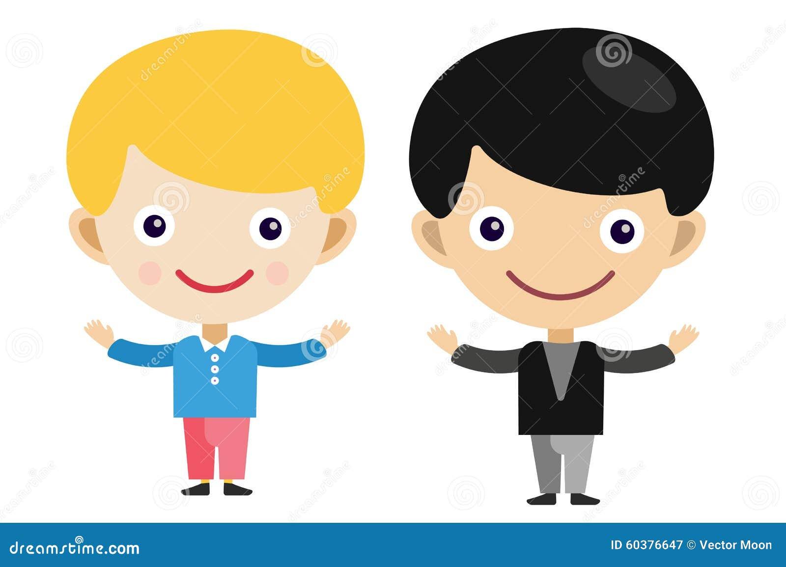 Meninos E Meninas De Nacionalidades Diferentes Childre: Meninos Louros Do Vetor Dos Desenhos Animados Do Menino Em